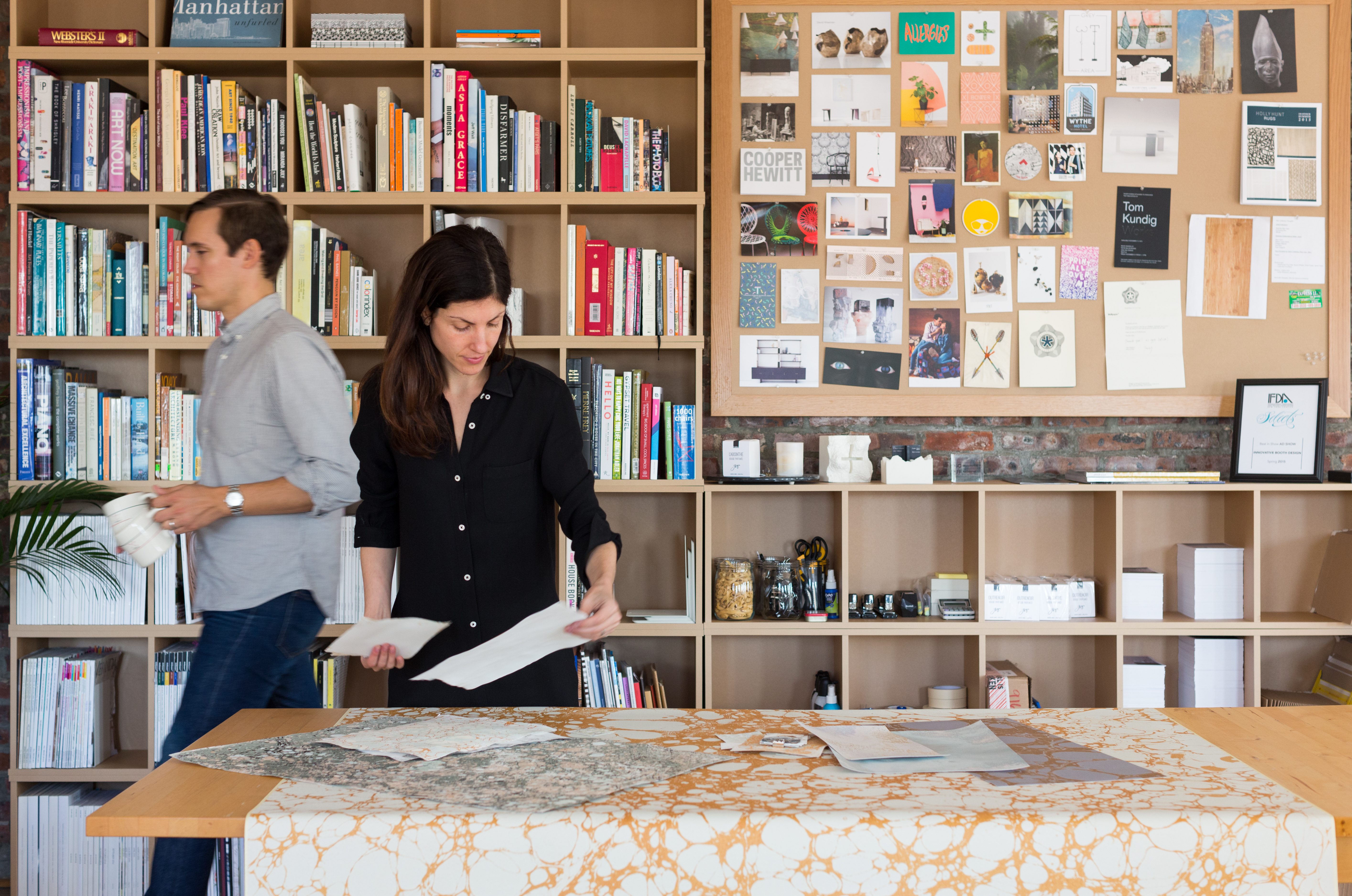 The founders of Calico Wallpaper at their studio