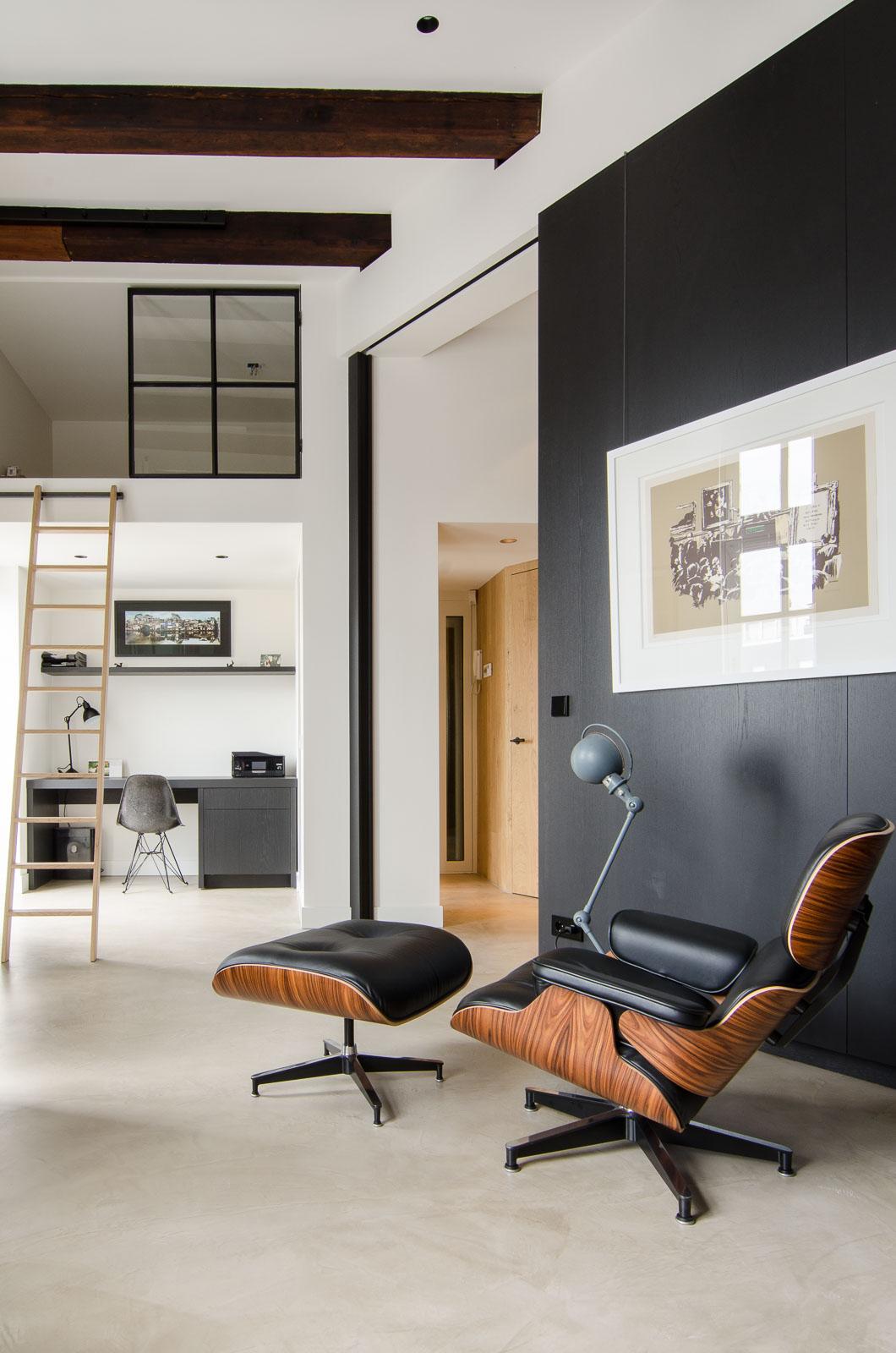 Amsterdam loft with Eames lounge chair