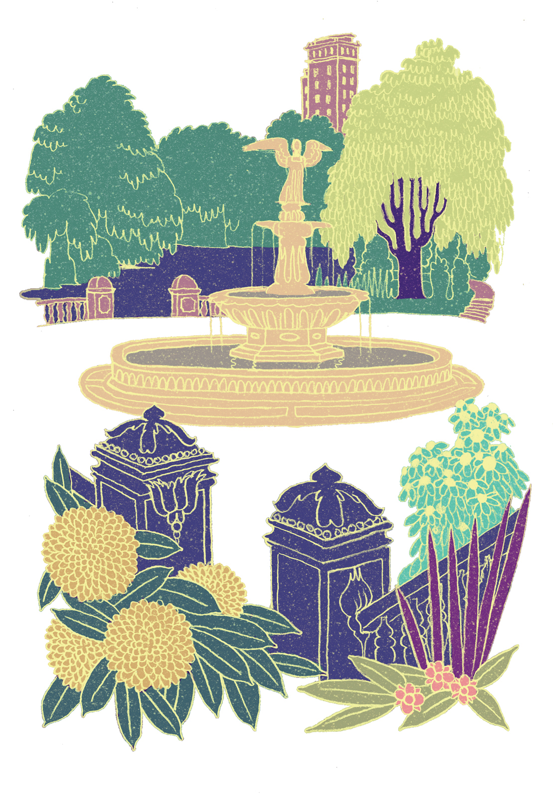 101 fountain illustration