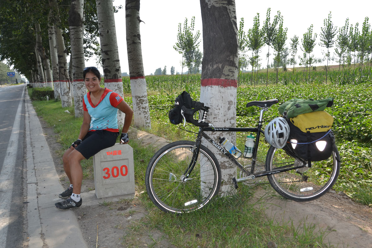 The author taking a break along the road from Beijing to Shanghai to snap this self-take photo.