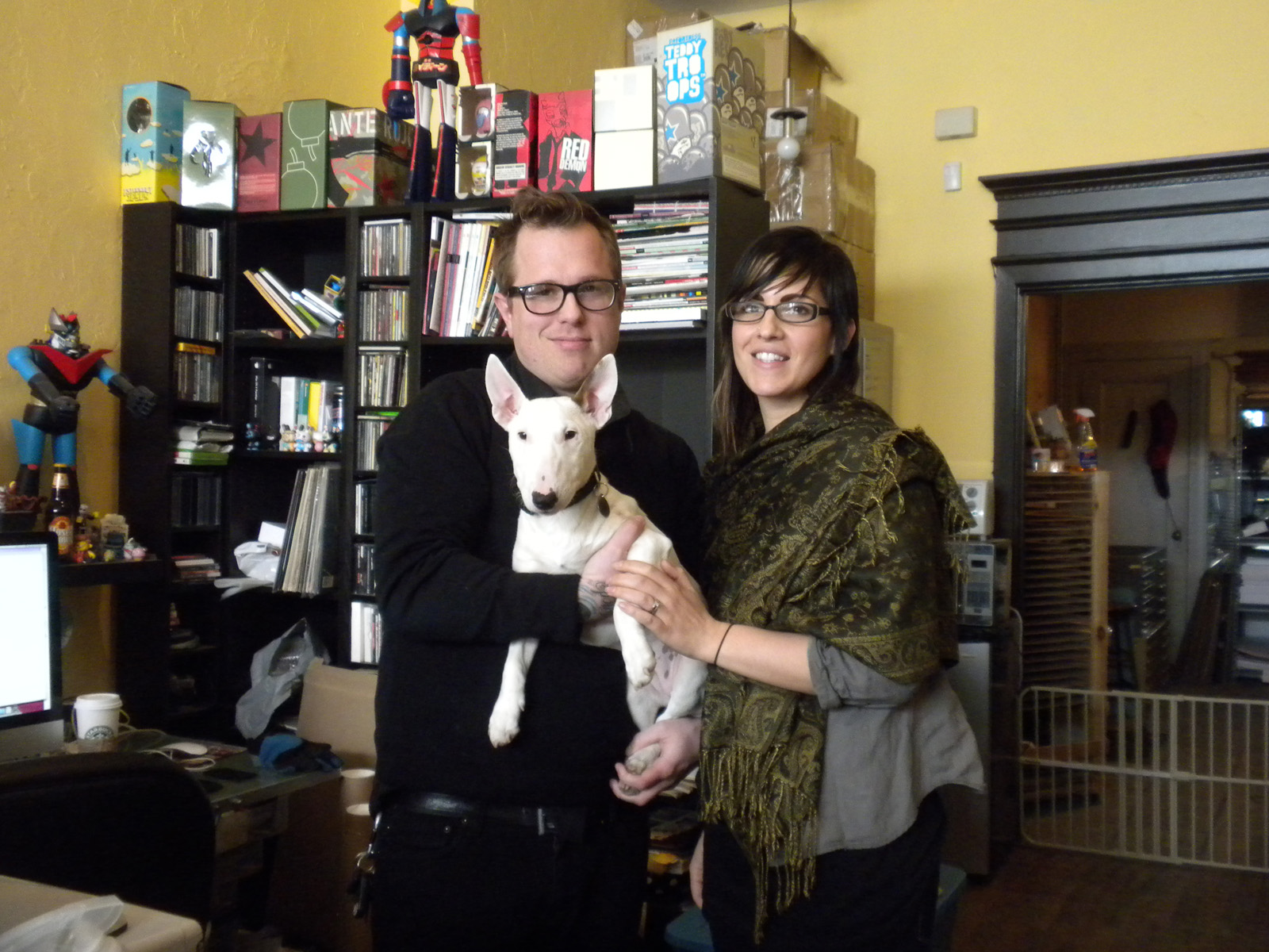 "Mark and Beth (at the shop with their pooch Seri) founded <a href=""http://heroandsound.com"">Hero</a> in 2003 as a design collective with work such as creating flyers for friends bands but it wasn't until a trip to South by Southwest in 2005 that they move"
