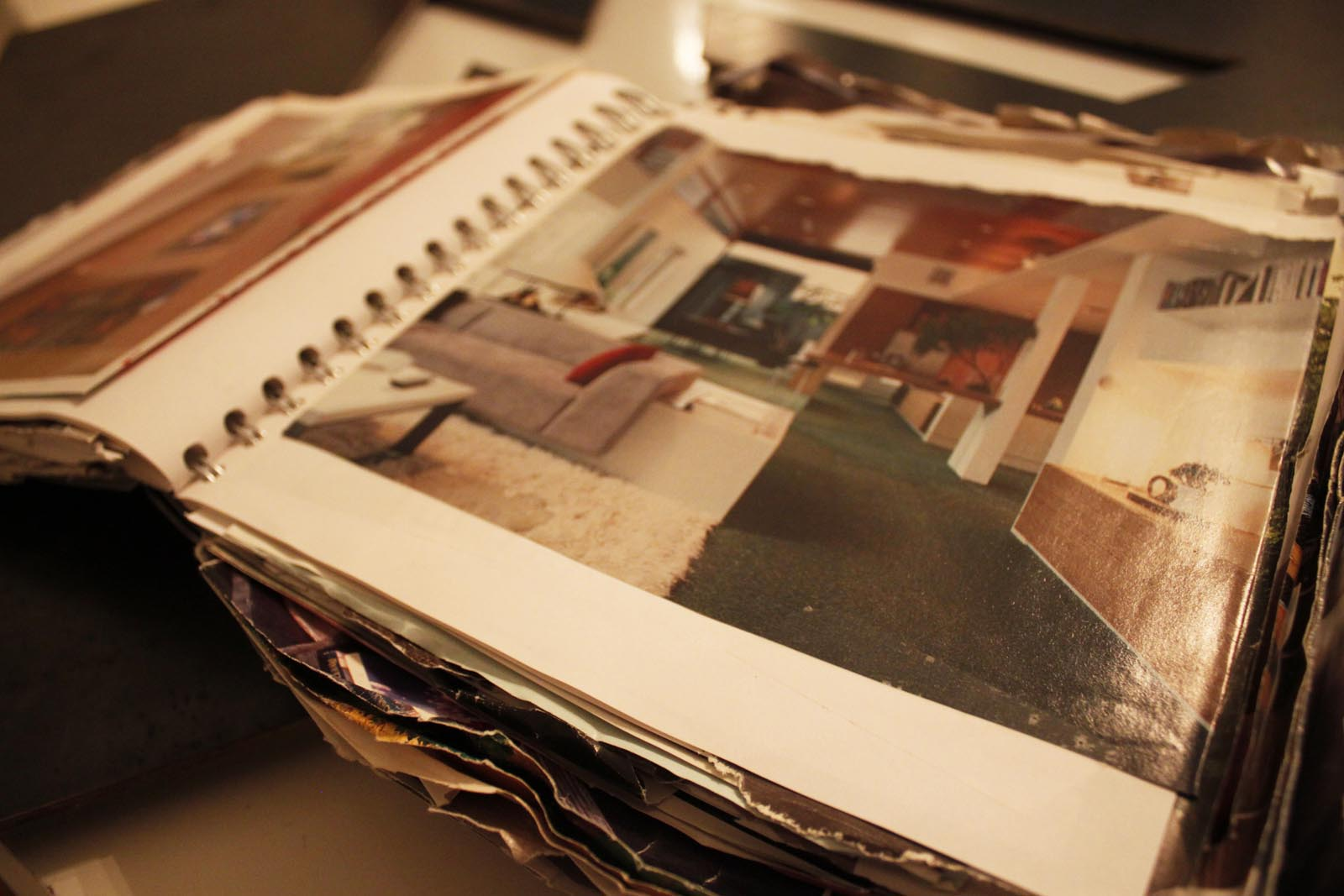 The first real stage of the process before and after we sold our house was to gather examples out of books and magazines of what we'd like to build. We started numerous notebooks and began to collect tear sheets out of design magazines.