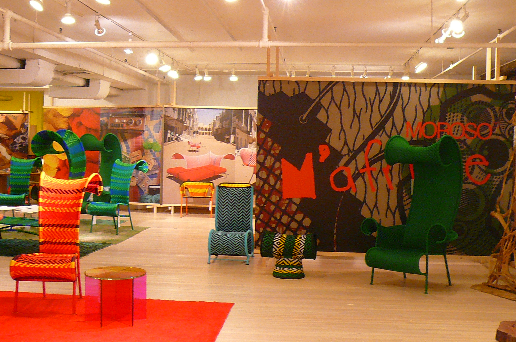 And here's the view facing the other direction—into Moroso's M'Afrique collection, with its colorful, Dr. Seuss-ian plastic-woven chairs.