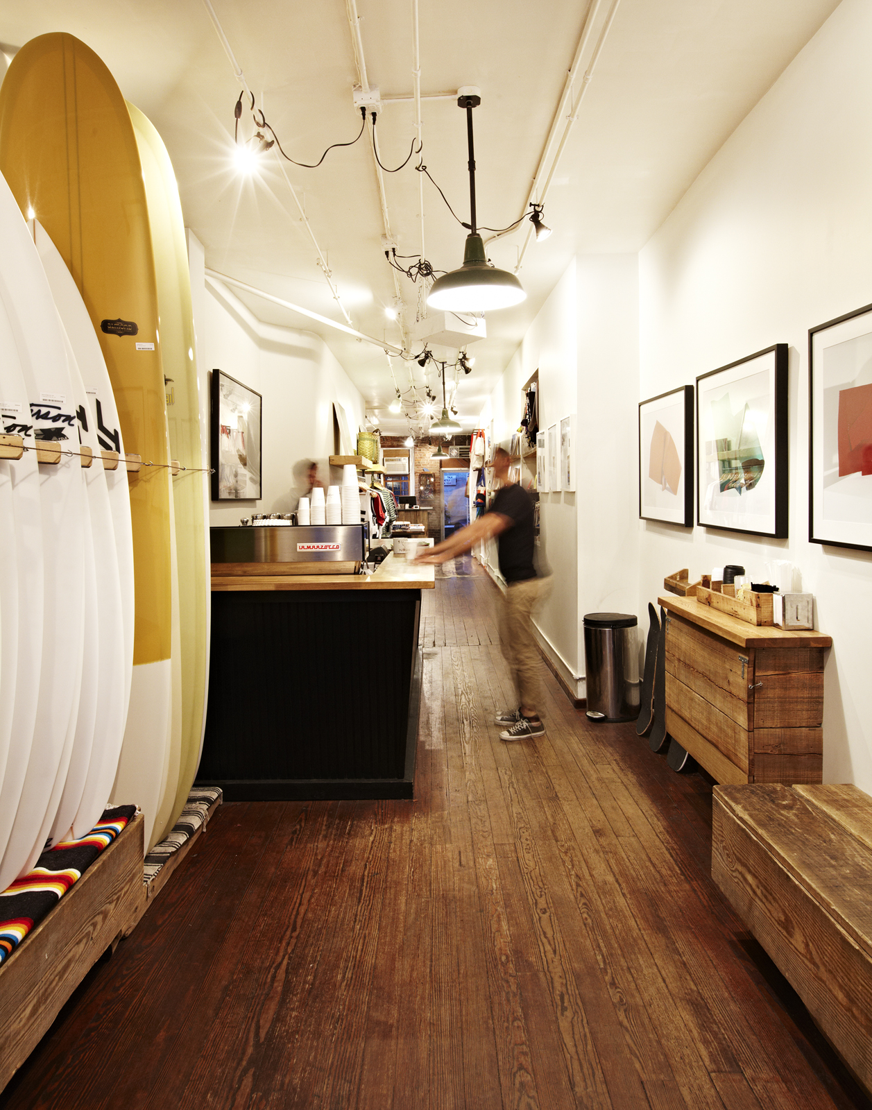 In addition to surfboards, wetsuits and beachwear, Saturdays sources and sells rare books, fine art and other surf-inspired lifestyle products. In summer 2011, the shop expanded their line of branded t-shirts to include a collection of oxford shirts, boar