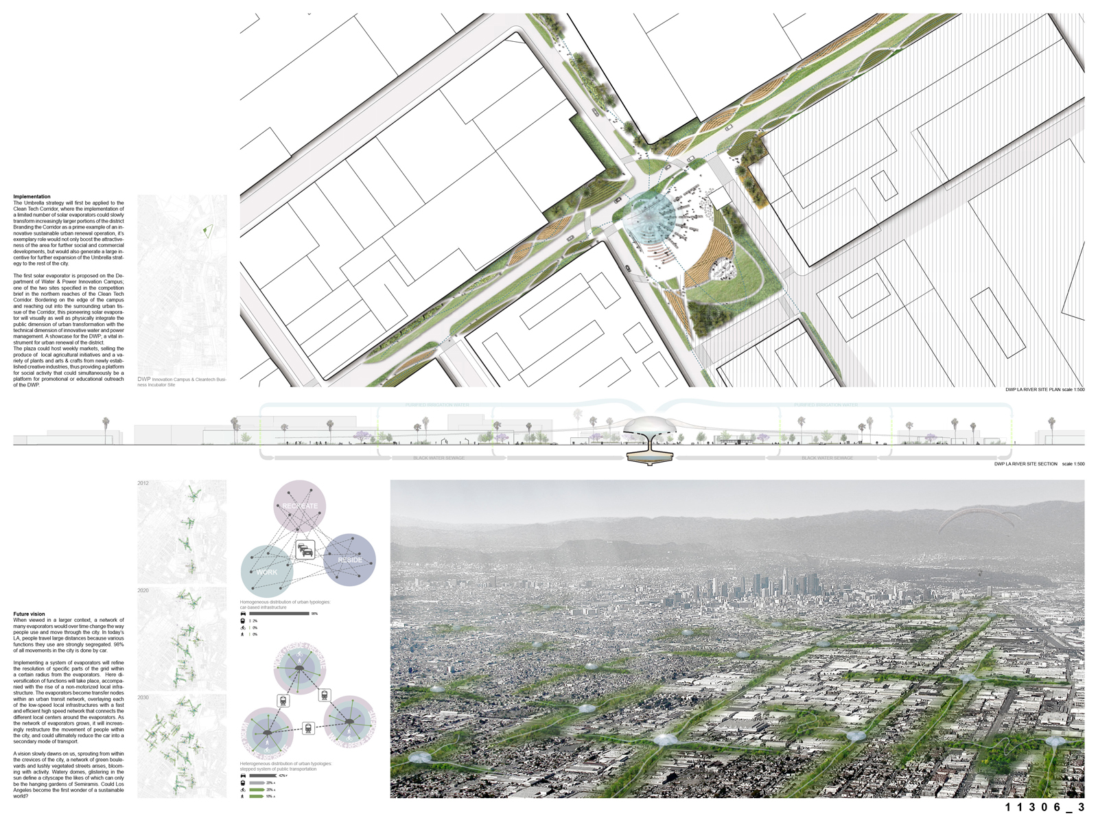 Green webs spreading out from the evaporators generate incentives for new, sustainable developments. The central urban plazas become focal points for a gradual process of transformation that will affect the way people will see, use, and experience their c