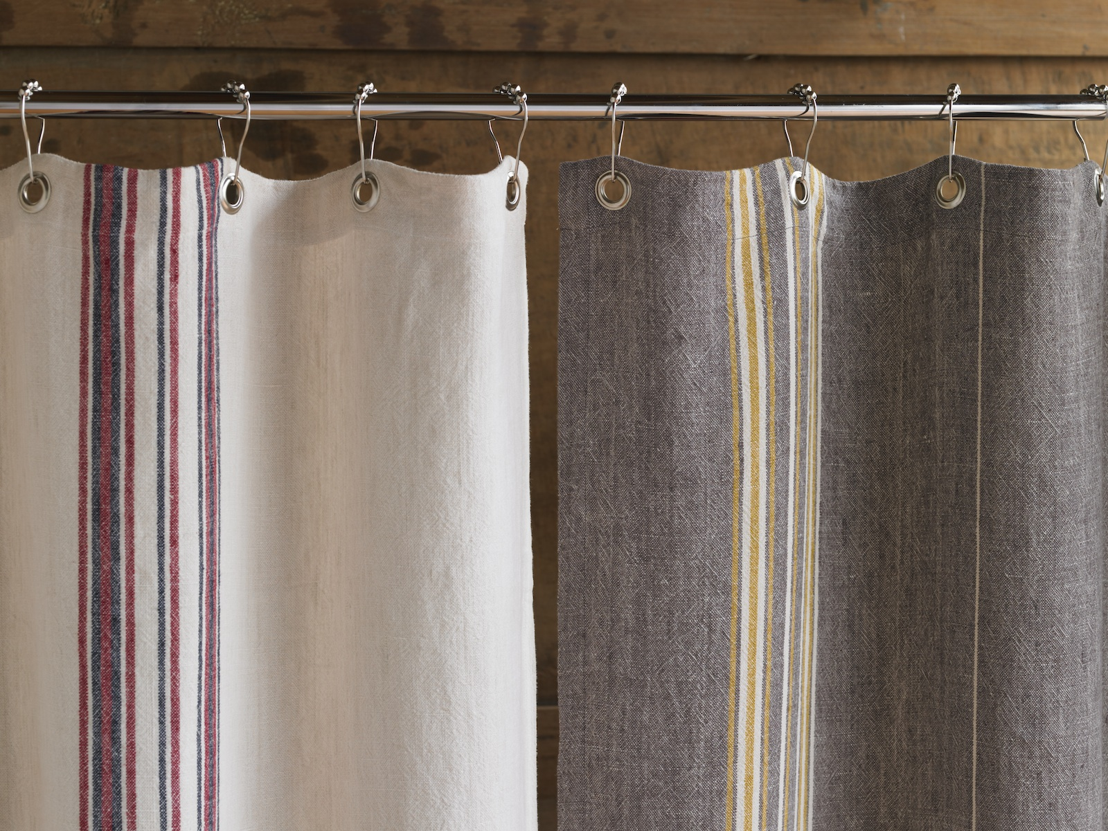 Among Wegman's latest designs are shower curtains and duvet covers made of soft, slubbed linen with yarn dyed stripes.
