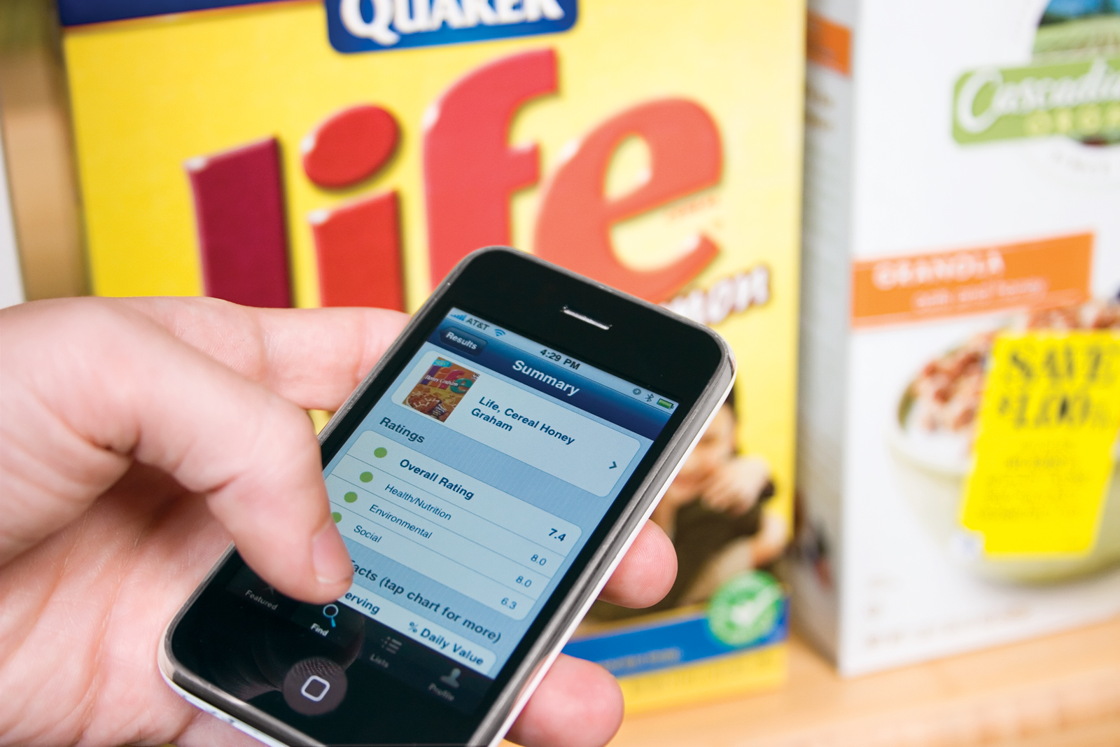 Using a mobile device, shoppers can get third-party information about their food. Image courtesy Goodguide.
