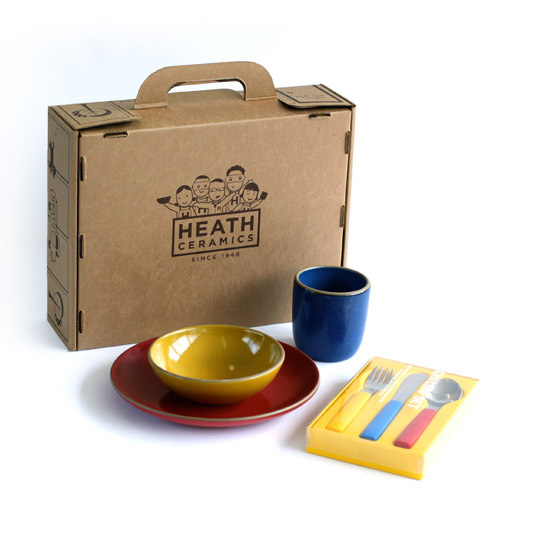 "Children's dinnerware set by <a href=""http://www.heathceramics.com/go/heath/homeware/store/index.cfm?catID=54#shop"">Heath Ceramics</a>, $135.00."