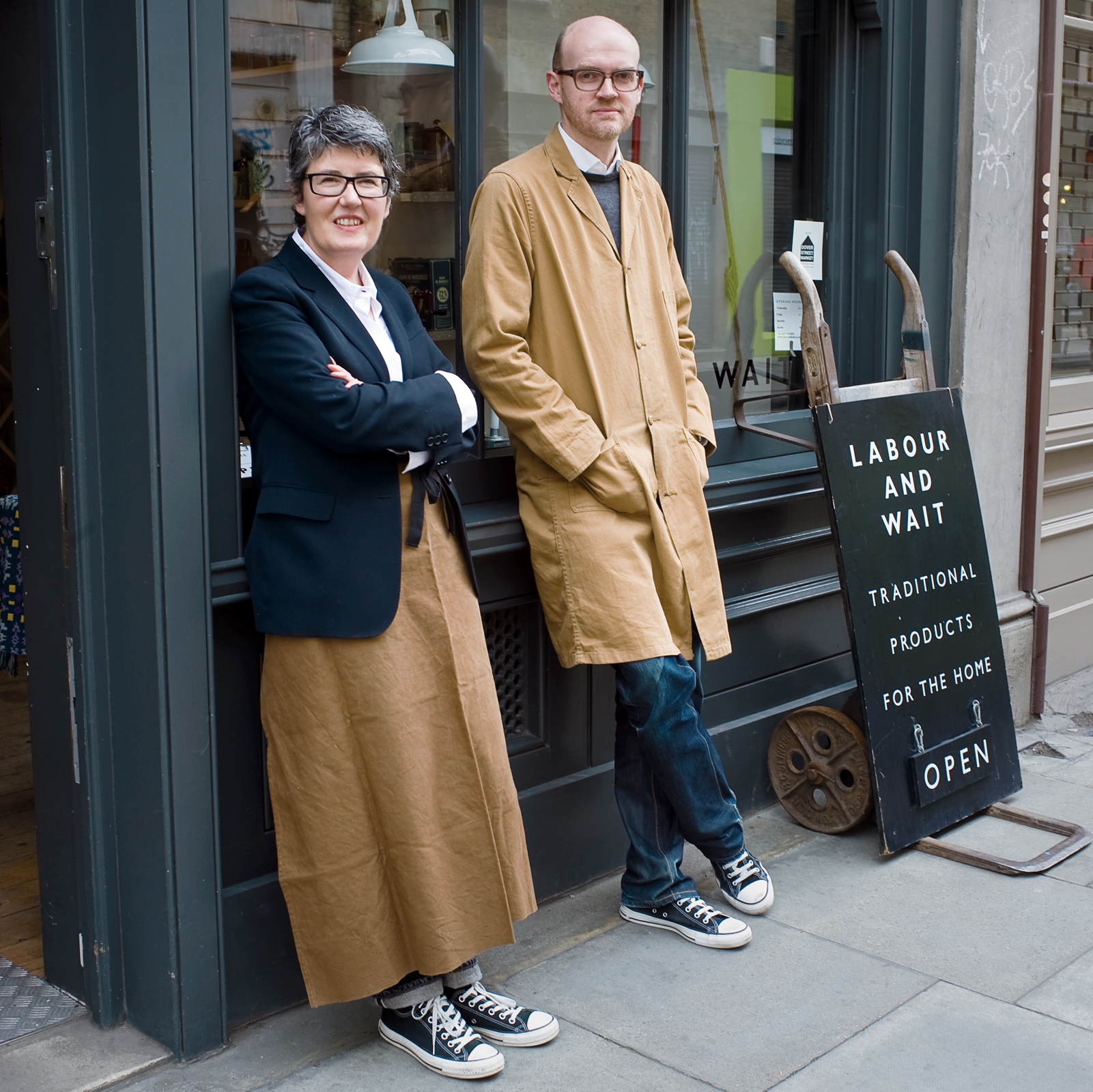 "Rachel Wythe-Moran and Simon Watkins filed papers to launch Labour and Wait in 2000 and were selling goods the next year. The store name is derived from a poem by Longfellow. ""We liked the idea of two words; it sounds like two people's names,"" Watkins say"