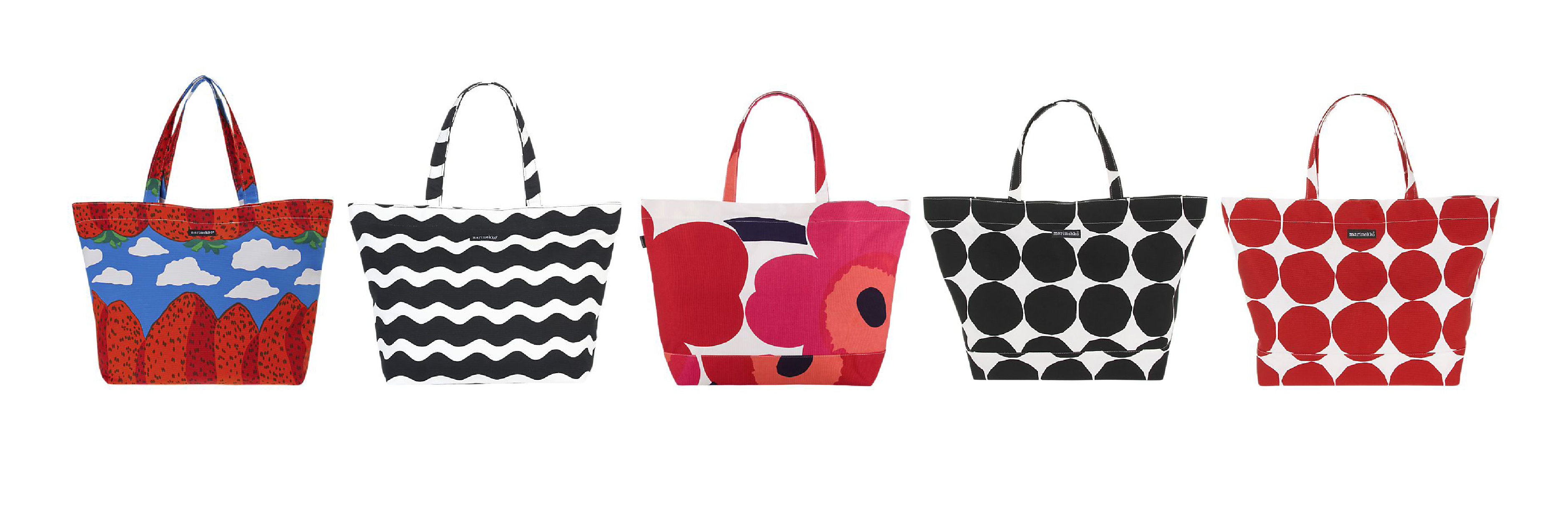 Marimekko totes in (left to right) Maija Isola's Mansikkavouret print, Pentti Rinta's Lorina pattern, Isola's iconic Unikko print, Isola's Kivet print in black and white, and Kivet in red and white.