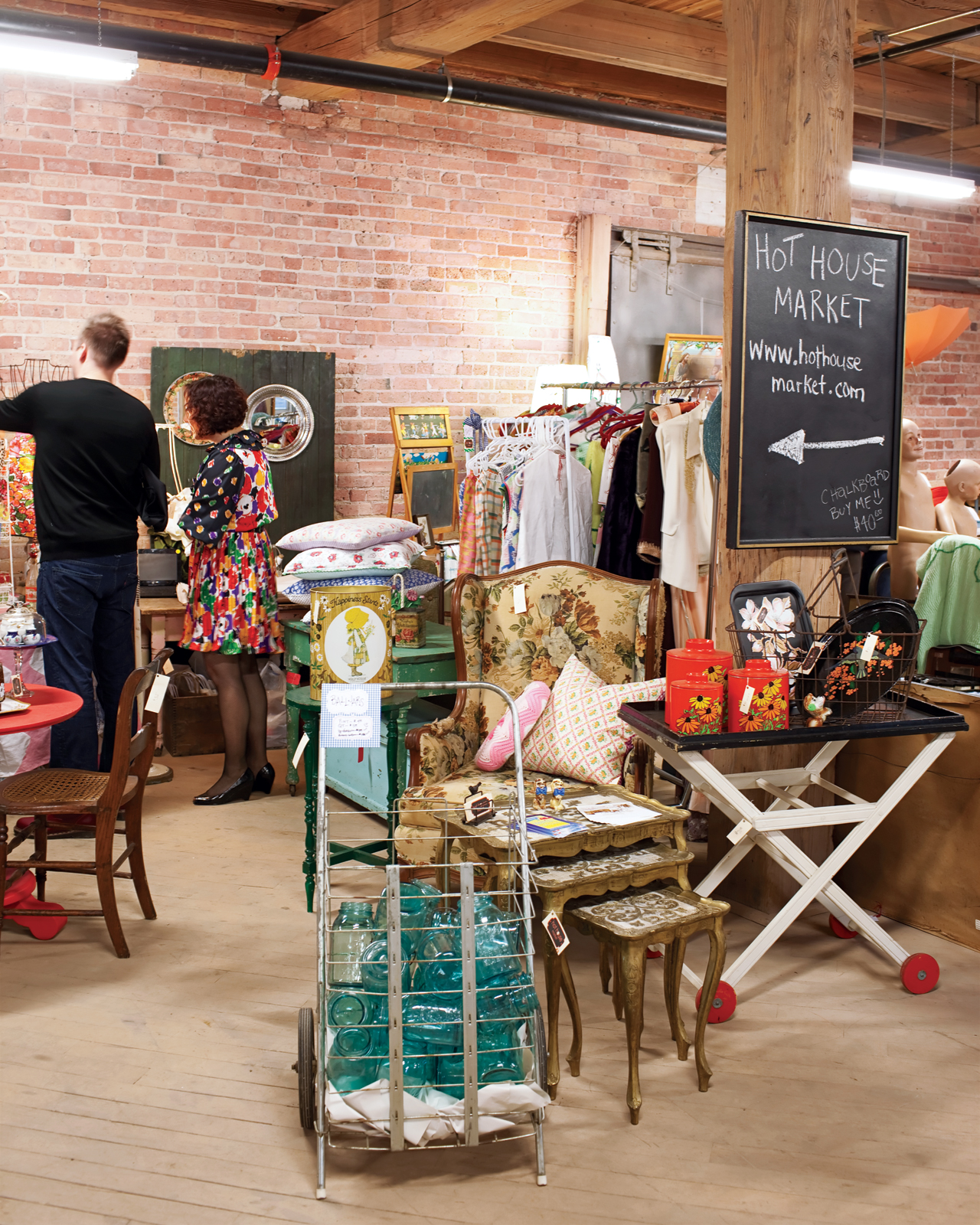 The Vintage Bazaar captures the ephemeral appeal — and inherent thrill — of traditional flea markets. Danish modern items are still predictably popular, but vendors don't discriminate.