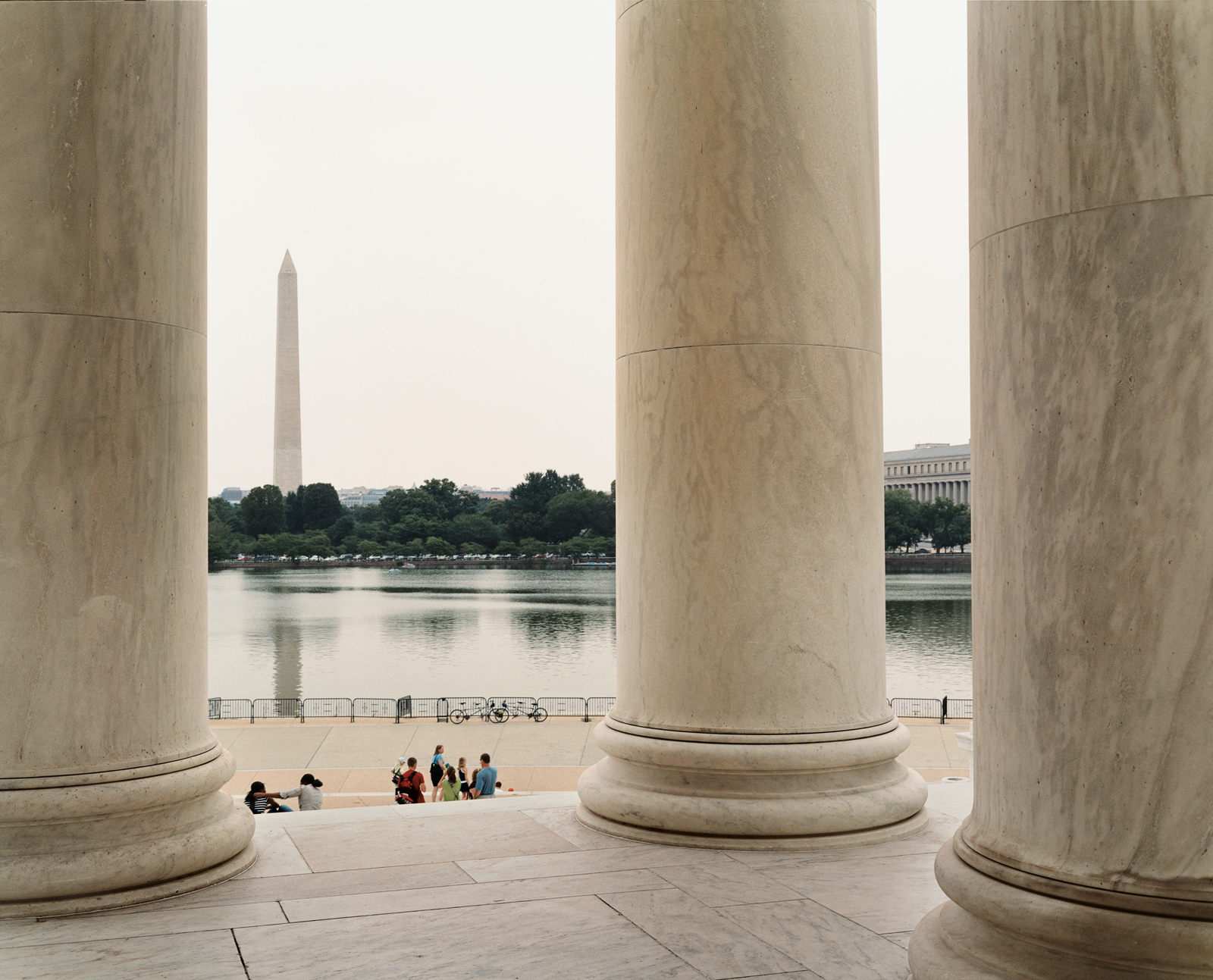 The Tidal Basin is monument central. This view from the Jefferson Memorial across toward the Washington Monument is one of the city's most stunning. The cherry trees along the basin, which bloom each April to great fanfare, are one of the capital's most s