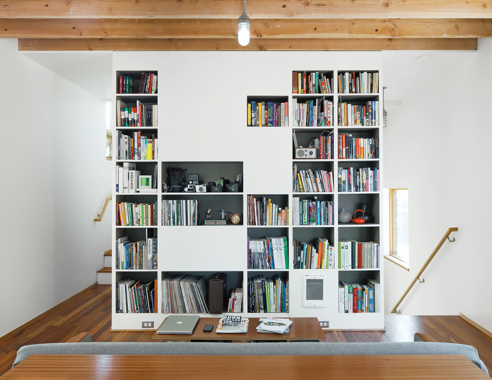 organized book shelving for living room