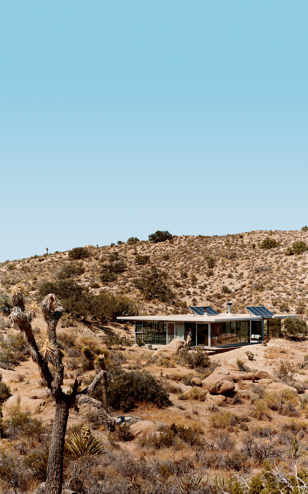 Solar panels catch the sun's energy; wide expanses of open doors and windows provide cross-ventilation; and strategic overhangs shade against the desert's endless heat.