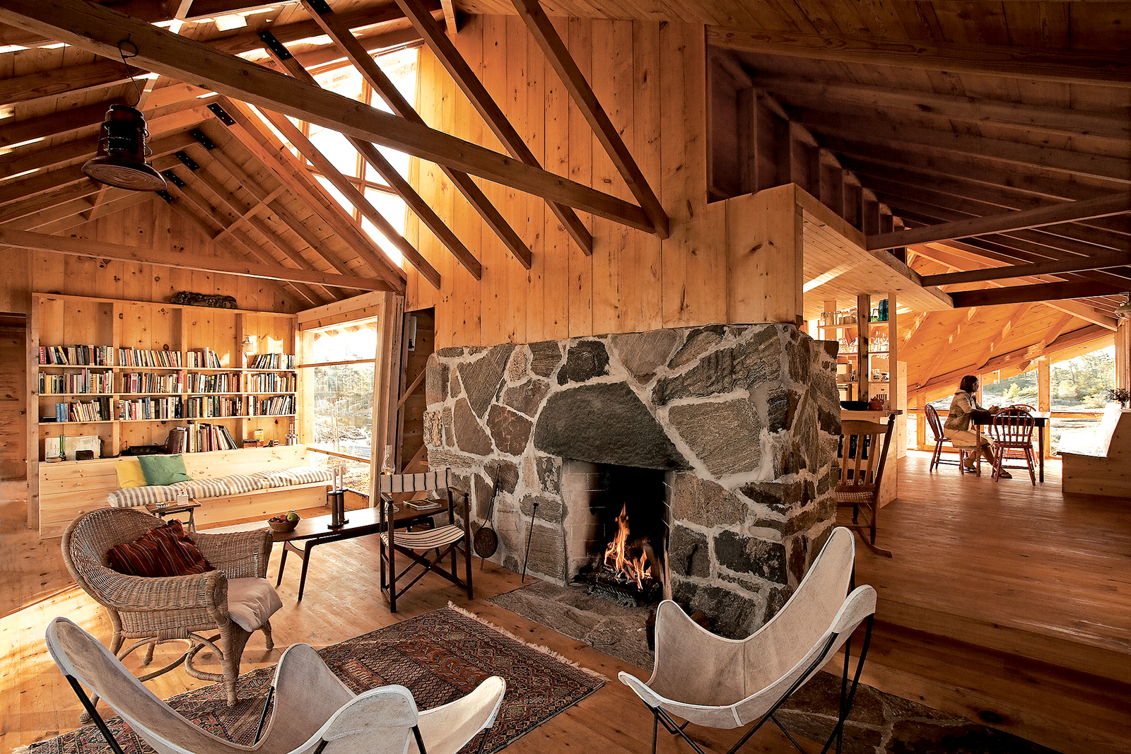the thom cabin fireplace