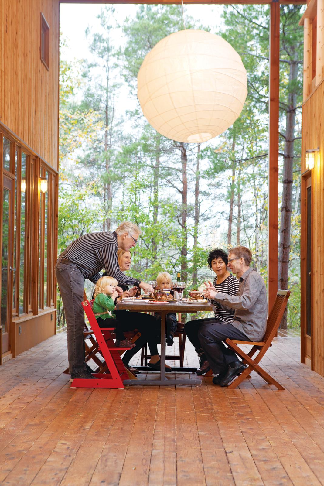 Outdoor wooden activity porch