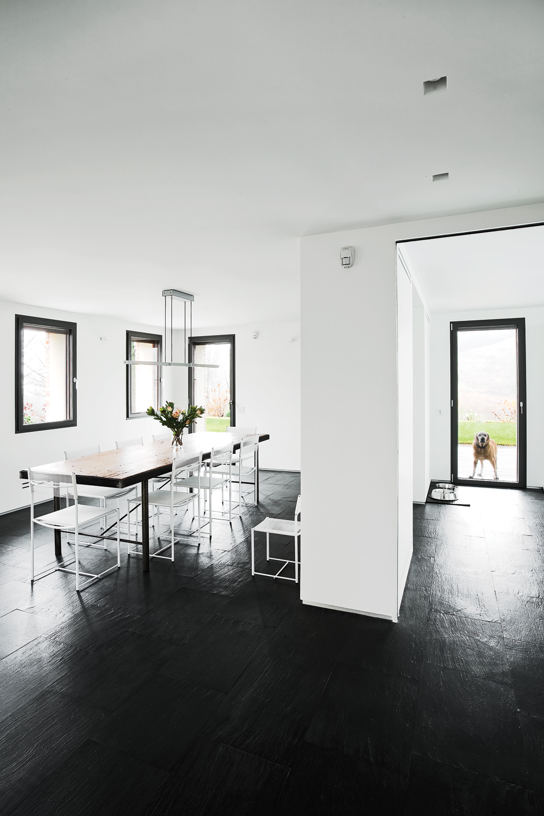 Black and white minimalist dining area renovation
