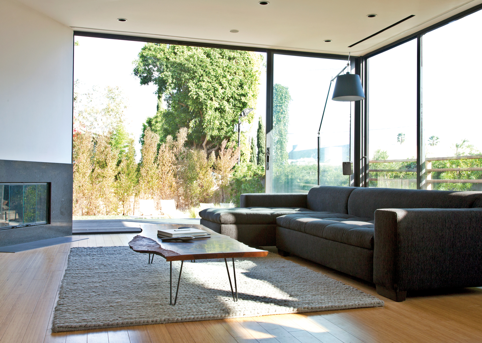 Urban living room with tall glass windows