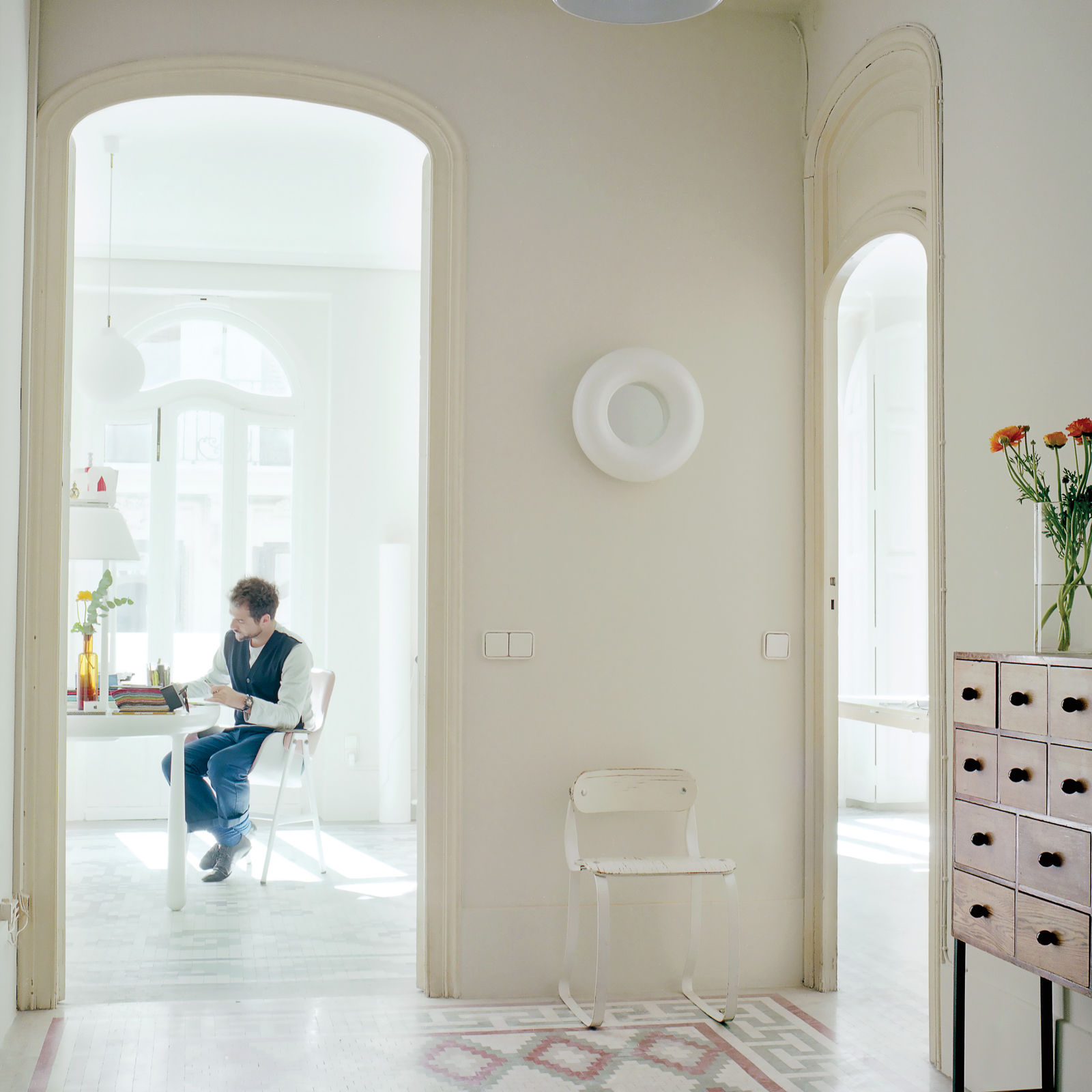Natural light studio with cement tile floors