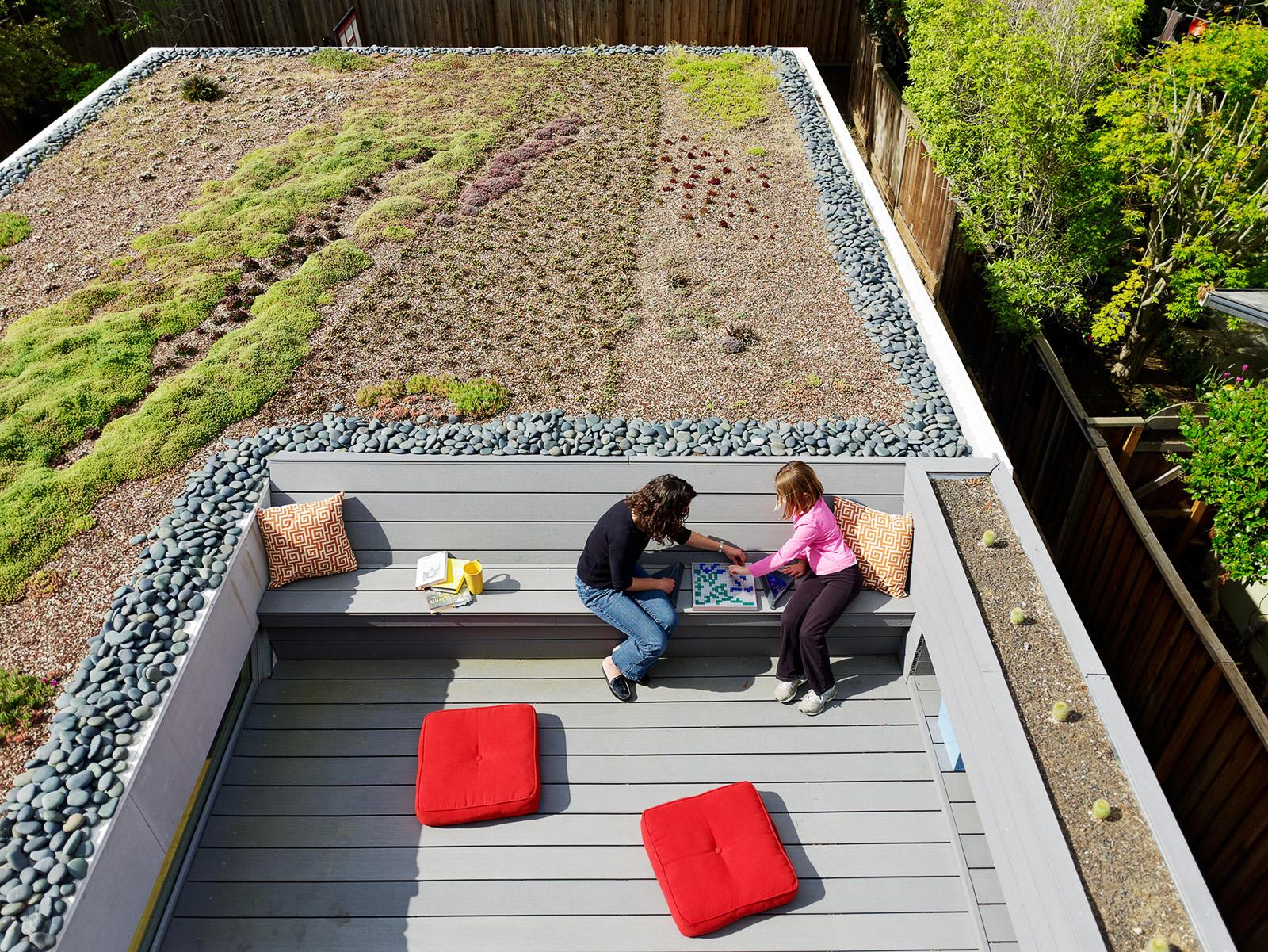 Outdoor roof balcony area with garden