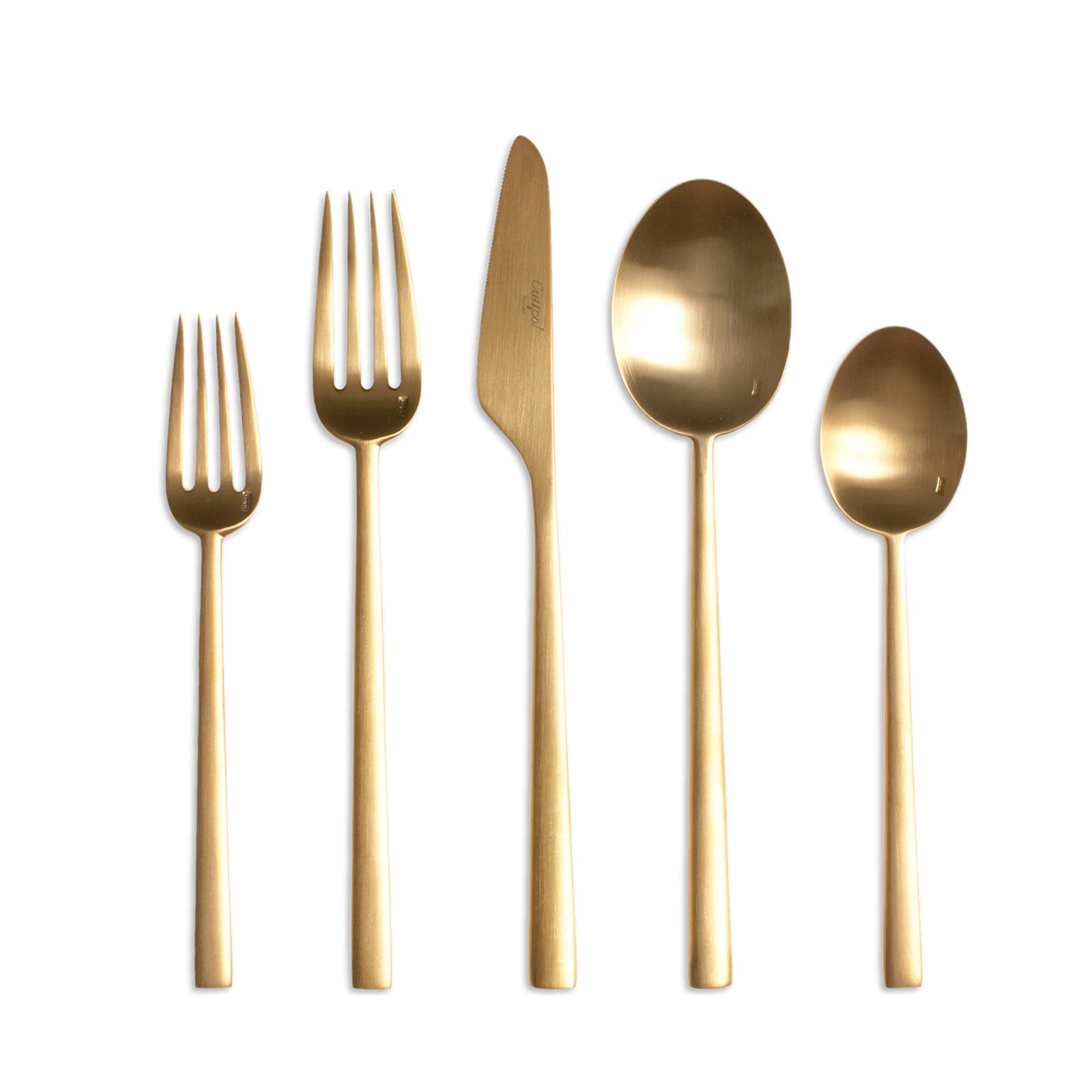 warm-toned modern metal flatware