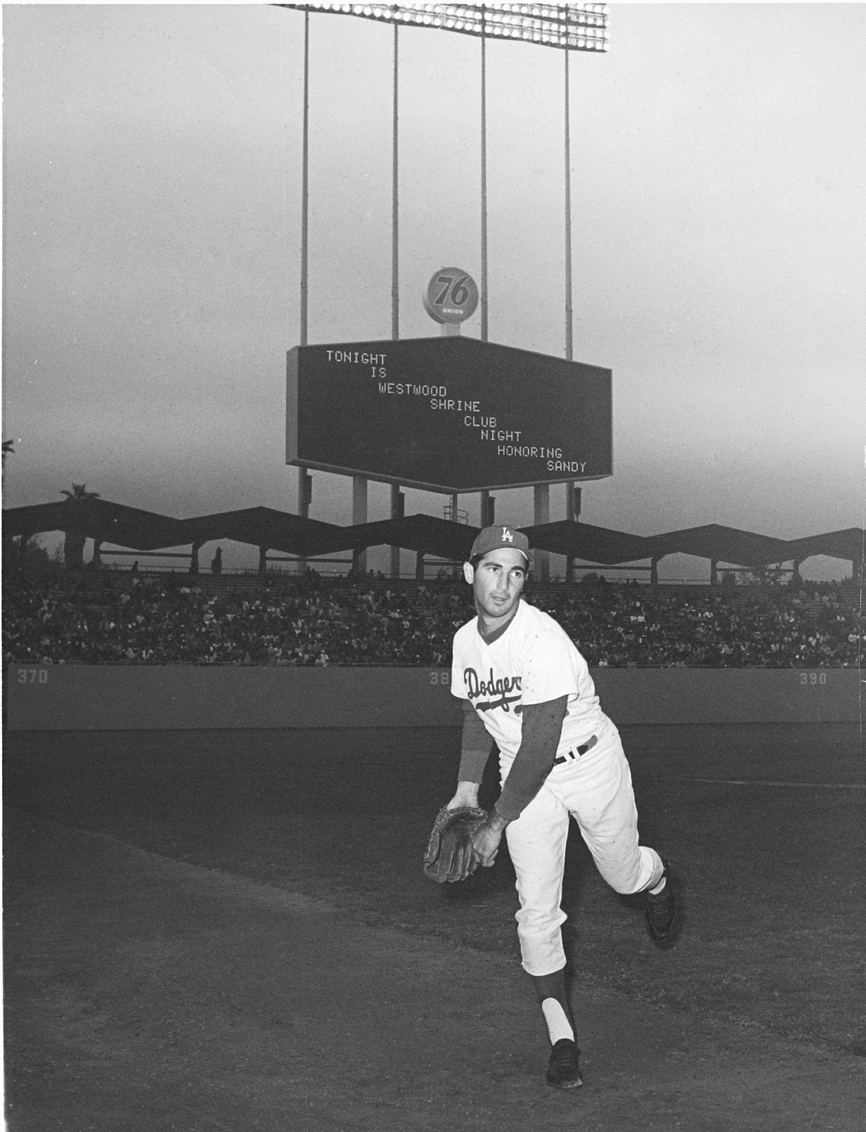 Sandy Koufax pitching at Dodger Stadium in 1964