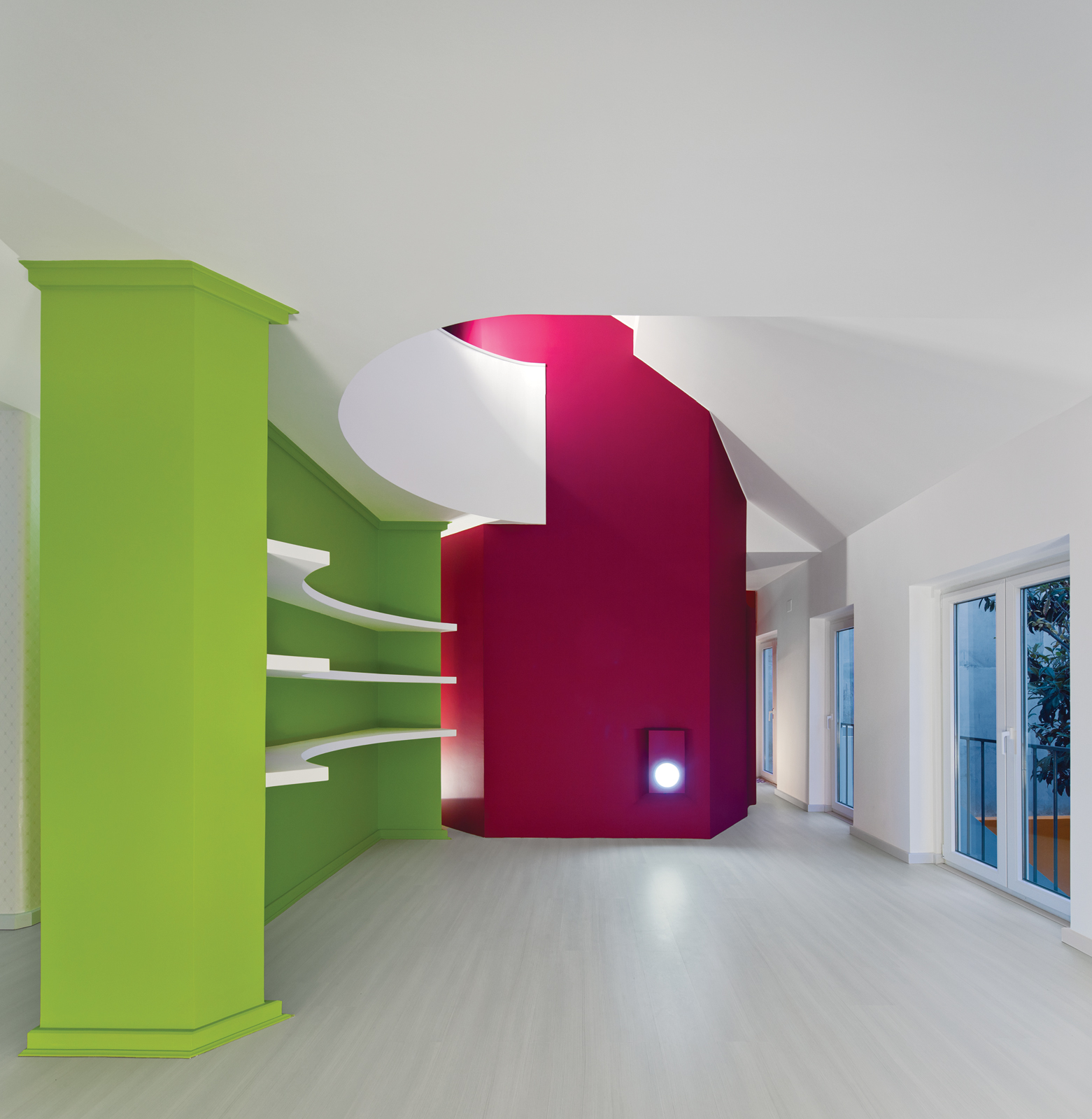 graphic curved lime green bookshelf