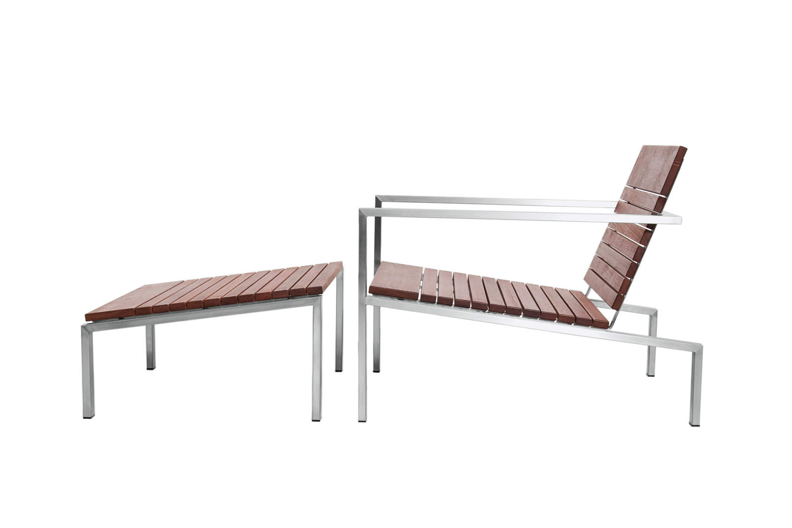 Rise lounge chair and ottoman by Edwin Blue