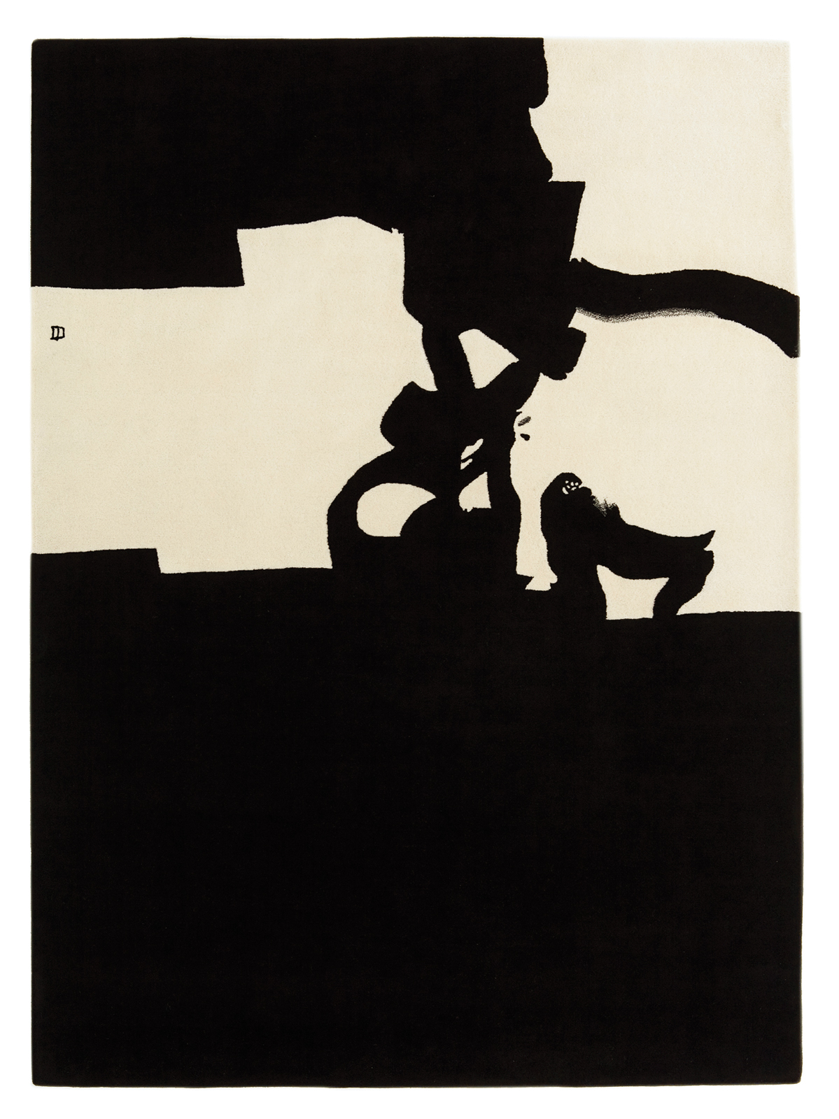 Collage rug based on artwork by Eduardo Chillida