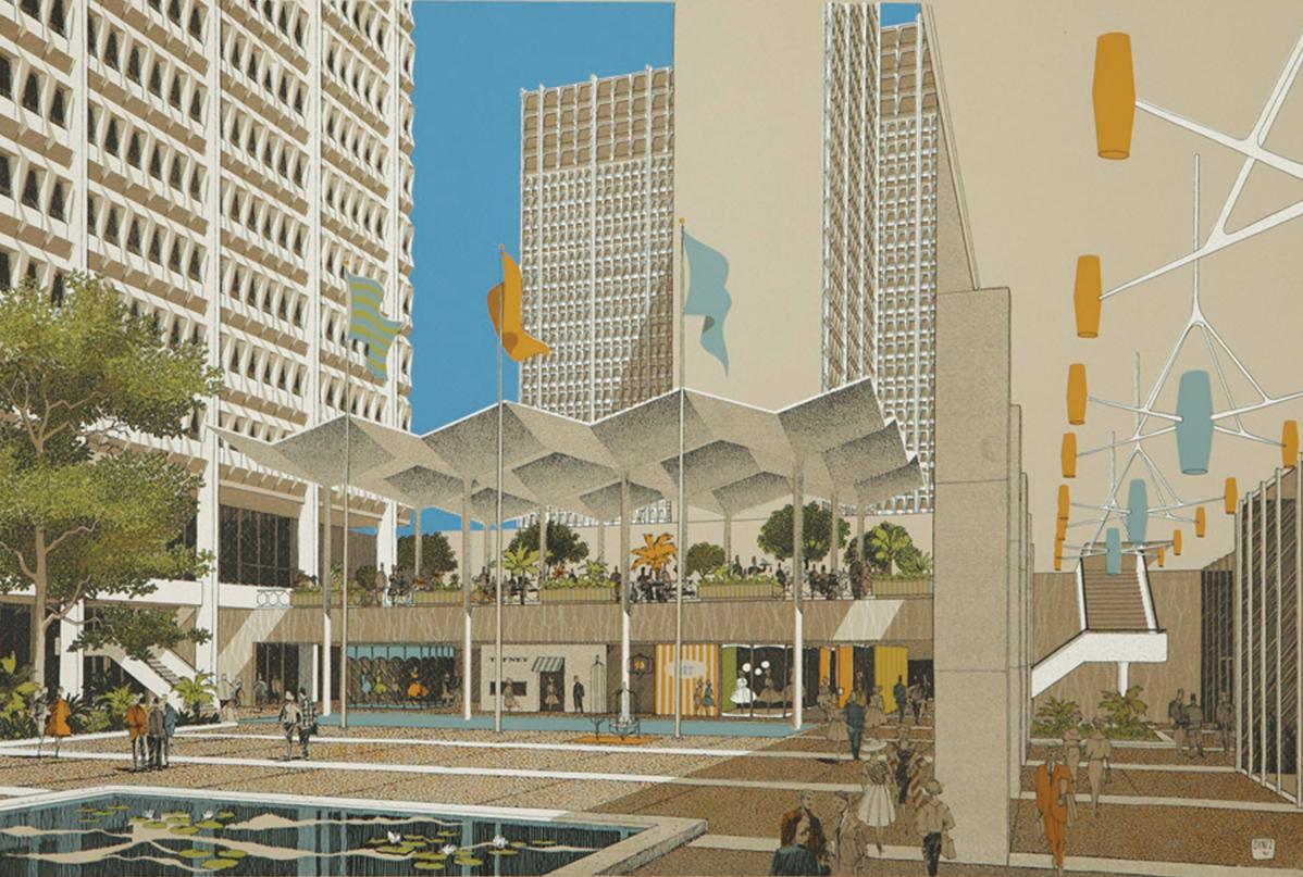 1961 Hollywood Suites rendering by Carlos Diniz
