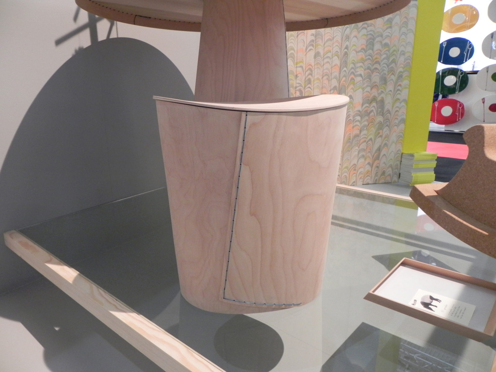 Wooden stool and circular table by Akiko Kuwahata