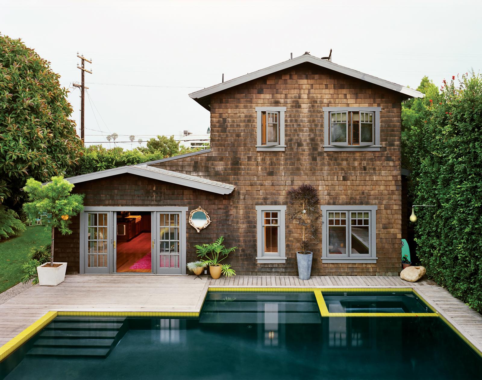 Modern green design pool house
