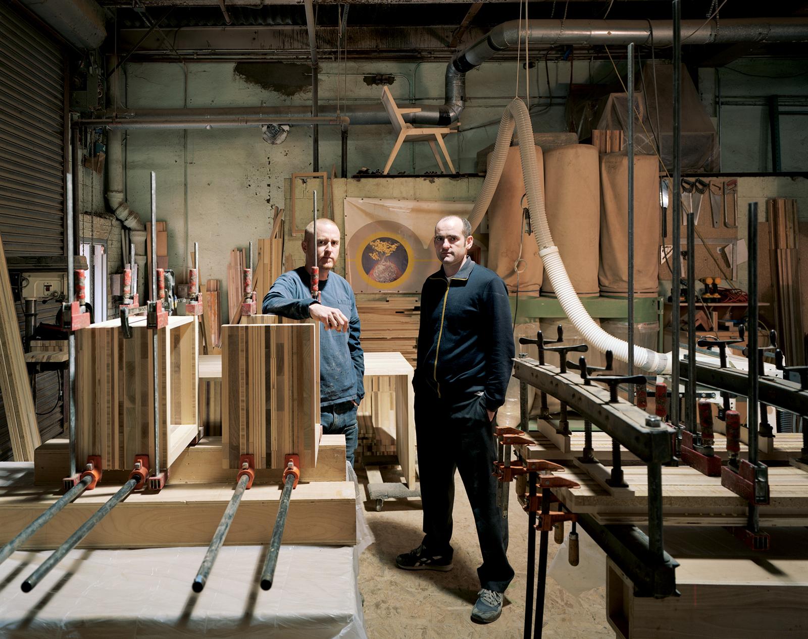 Carlos Salgado and Bart Bettencourt in their Brooklyn studio