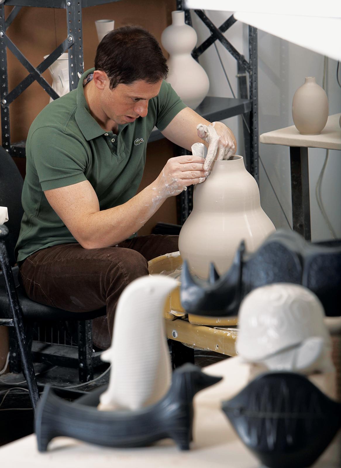 Designer Jonathan Adler making pottery