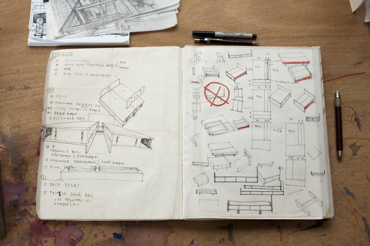 Maisie Hale's furniture idea sketchbook