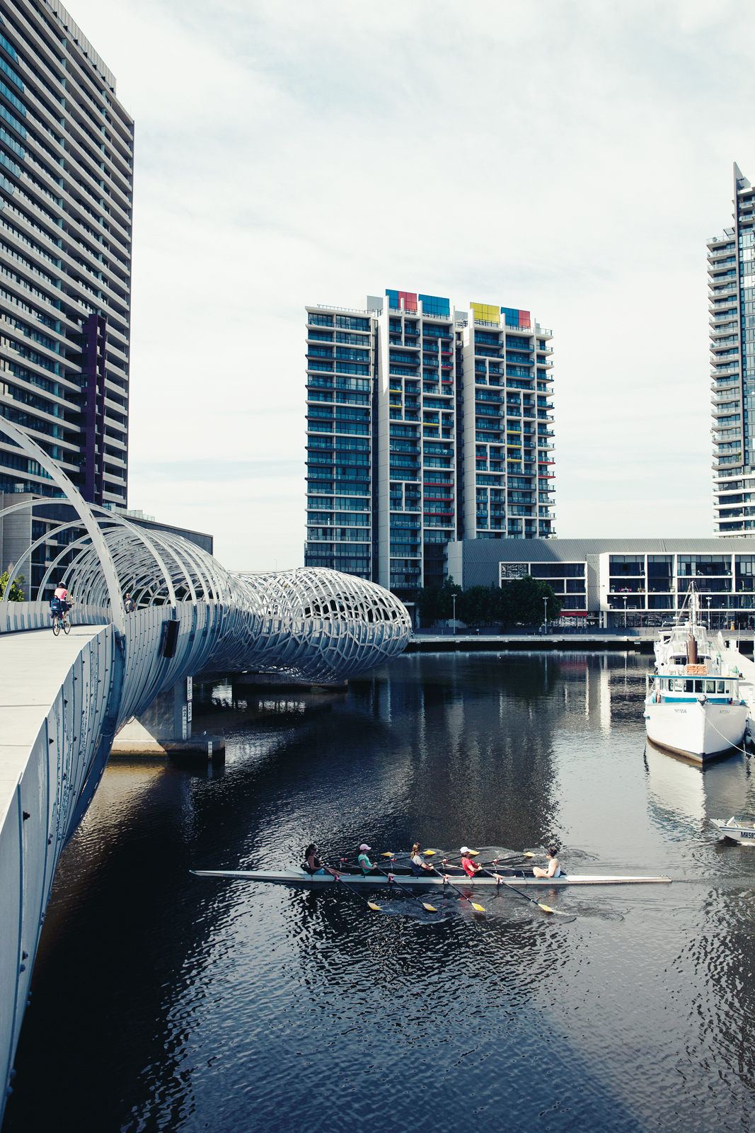 The Webb Bridge by Denton Corker Marshall in Docklands at Central Business District