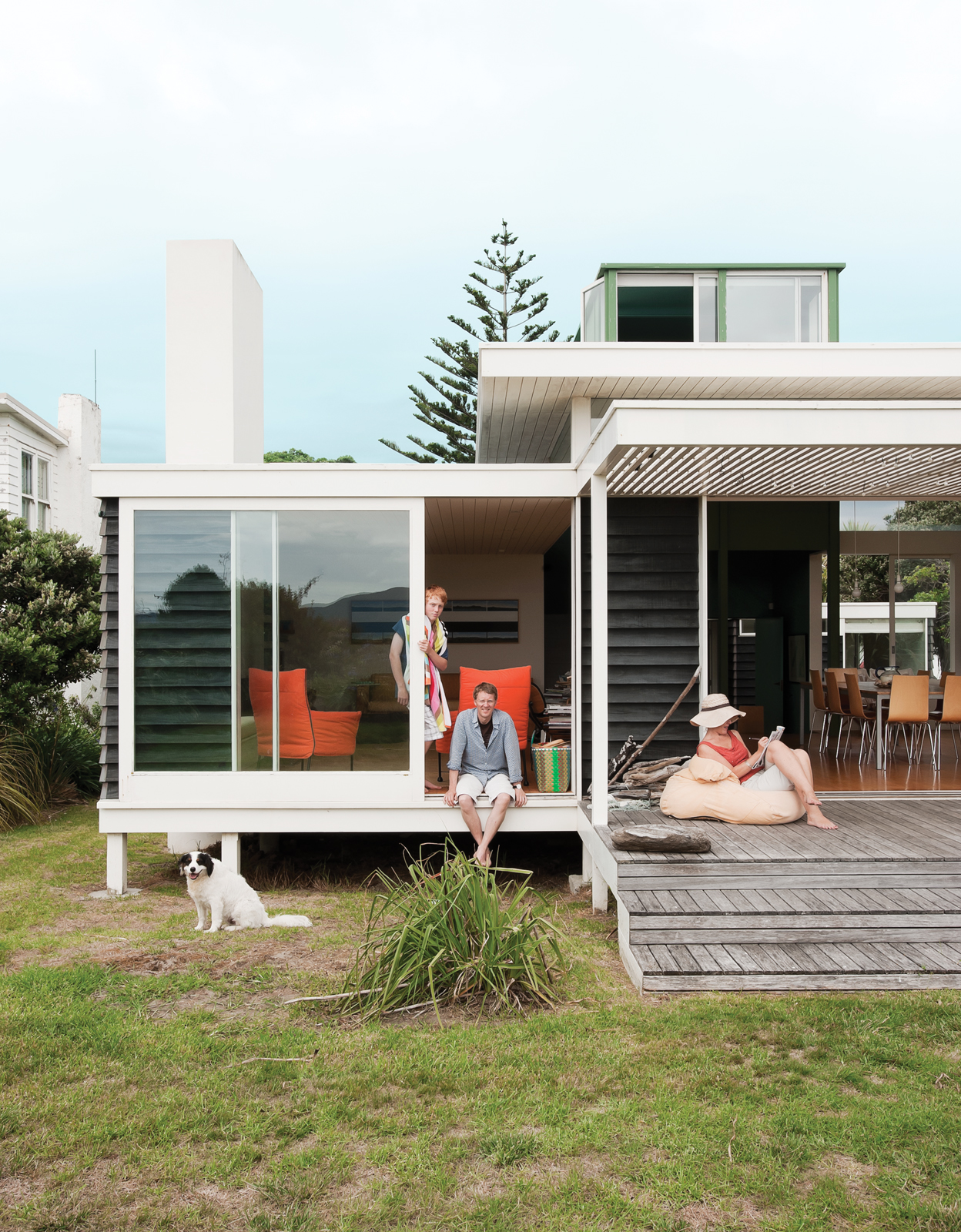 Modern beach house porch in New Zealand