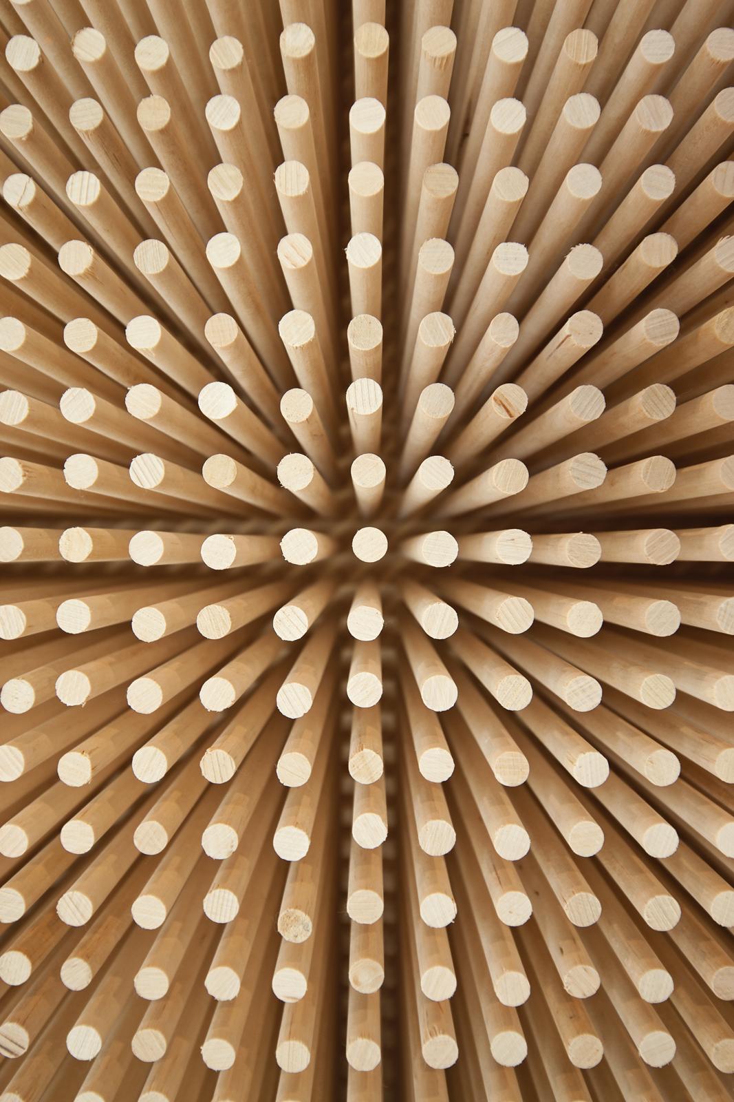 Closeup of wooden dowels