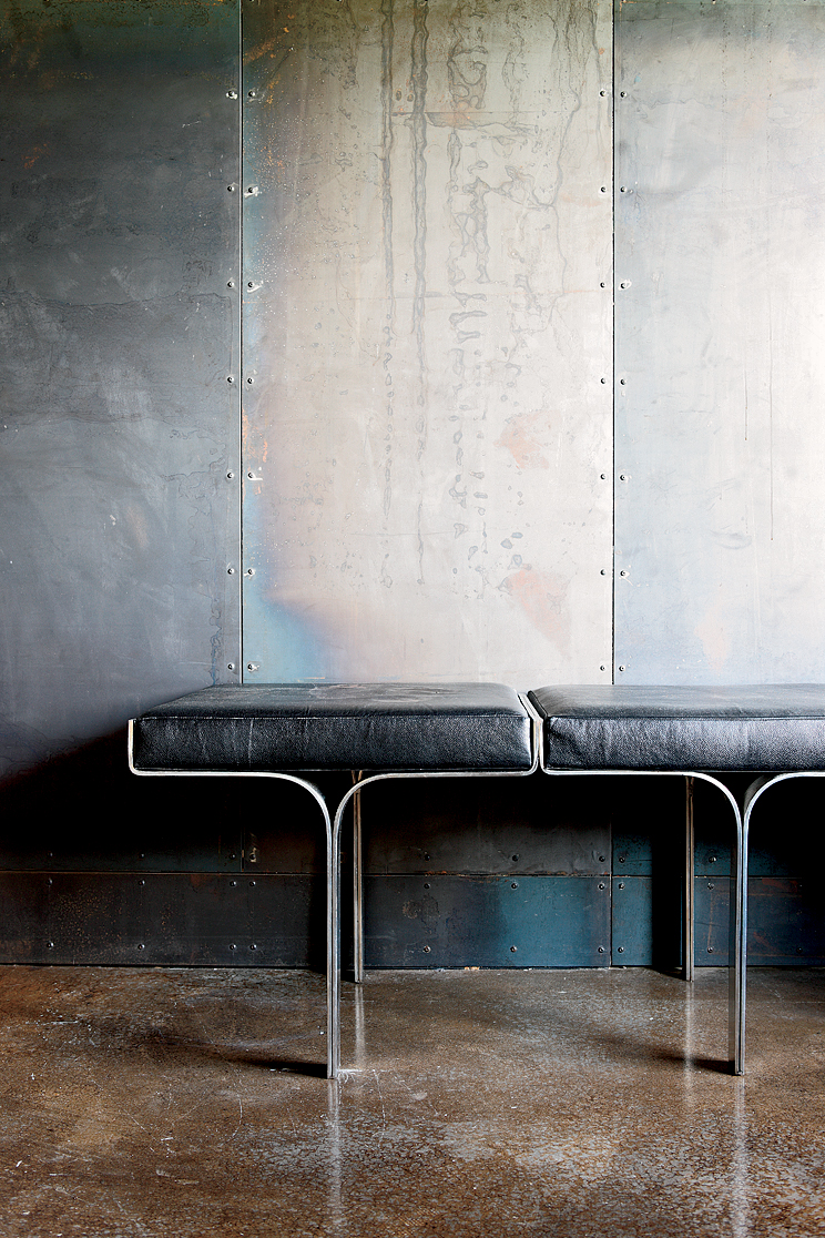 """I've always had this fascination with industrial buildings, and with my work, I've been in a lot of steel mills,"" says designer James Campbell of a Collingwood, Toronto, house he created using salvaged scrap metal. ""Plus, I'm a modernist, so the way to c"