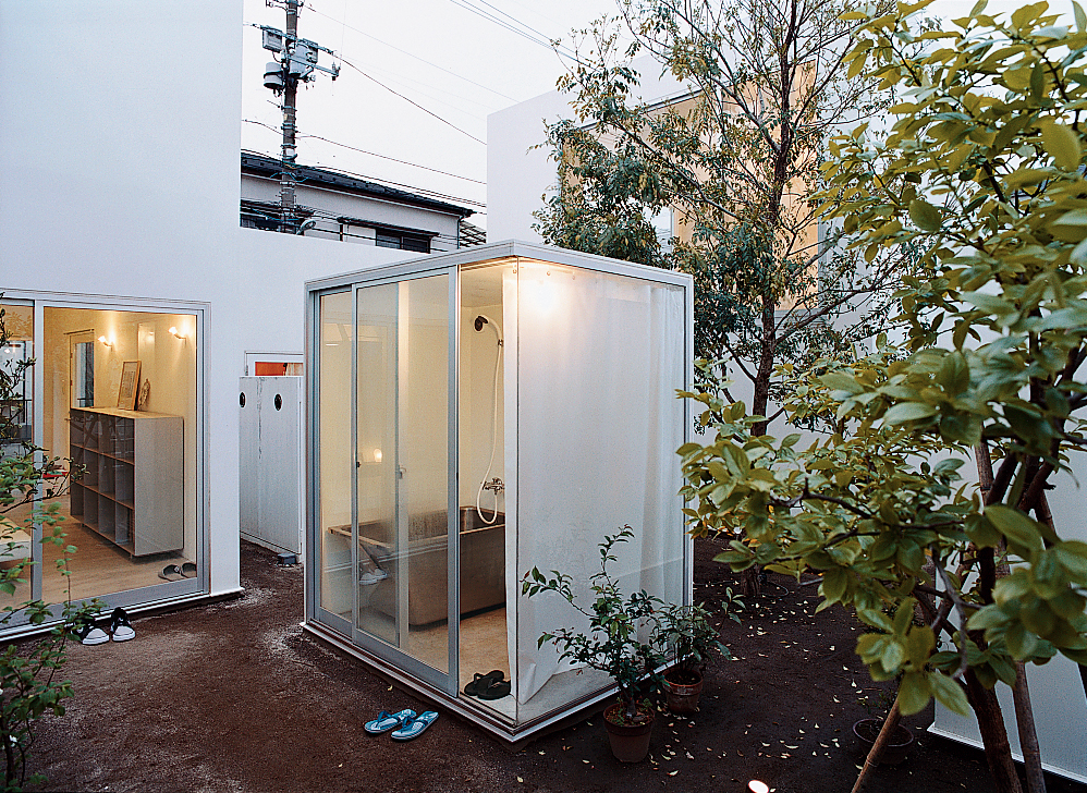 """The evening bath is a ritual in Japan, and public baths are still around, but this is a new twist. Moriyama curtains the bath during use, but won't cover any other windows, """"because it feels good to couple the inner space with the outside world."""""""