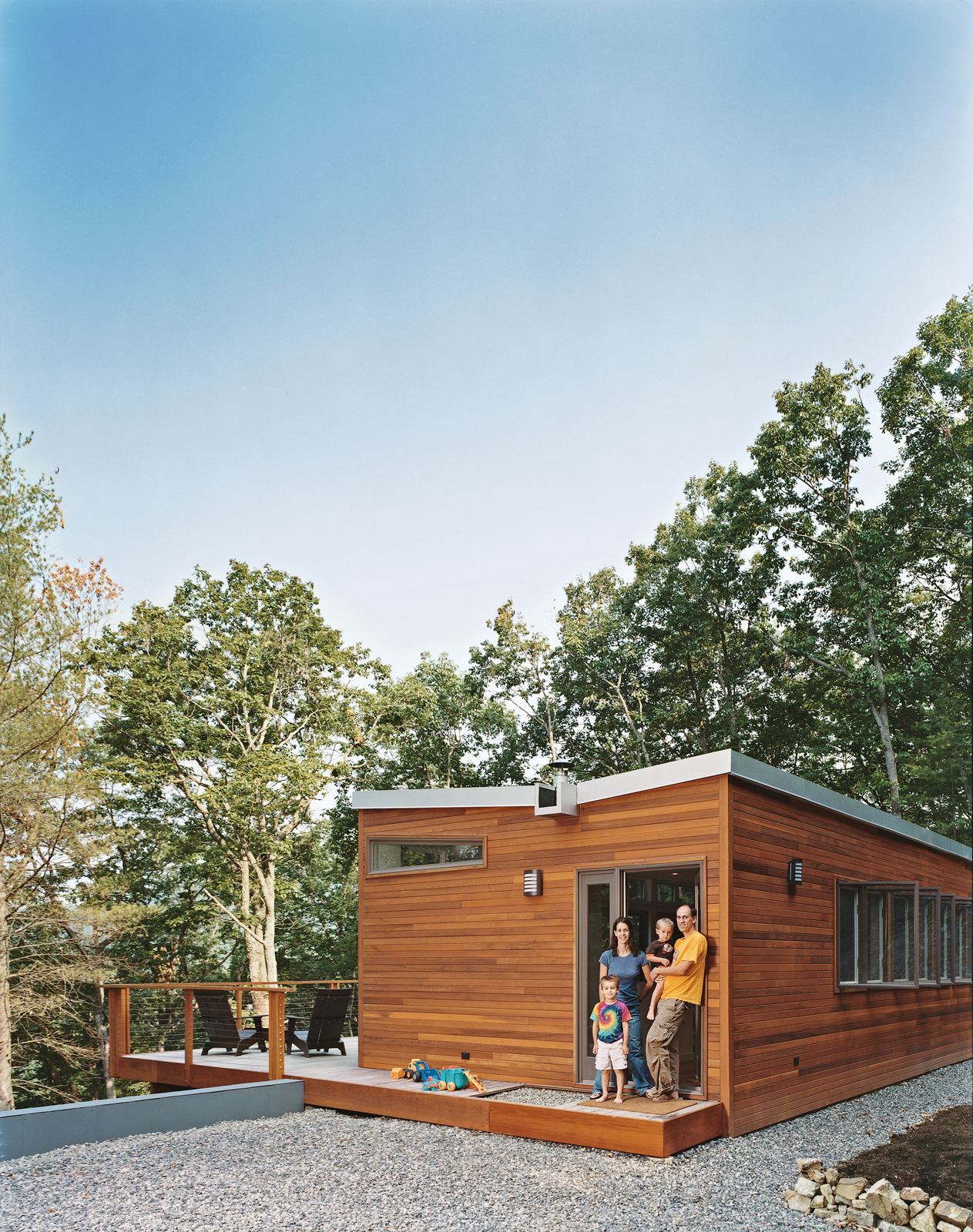 The residents worked with architecture firm Resolution: 4 Architecture on the specs for their prefab cabin, and then commissioned Simplex to assemble it on their factory floor and drive it out to their remote Virginia location.