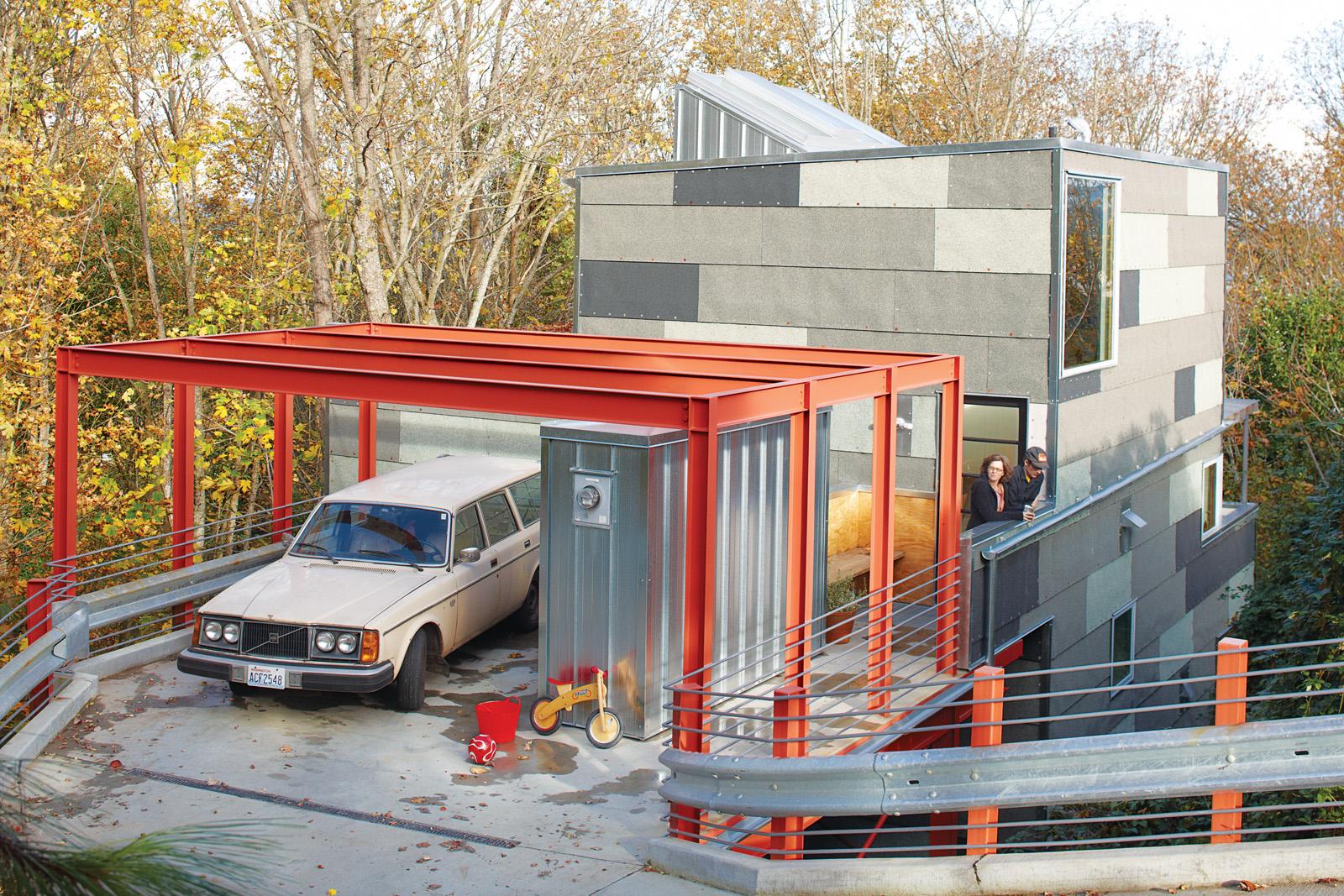 Rectangular red-framed open garage