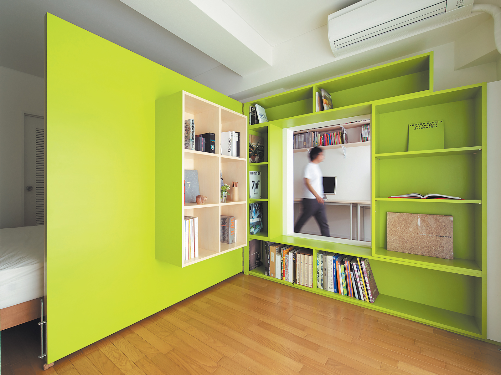 Green plywood door shelf space
