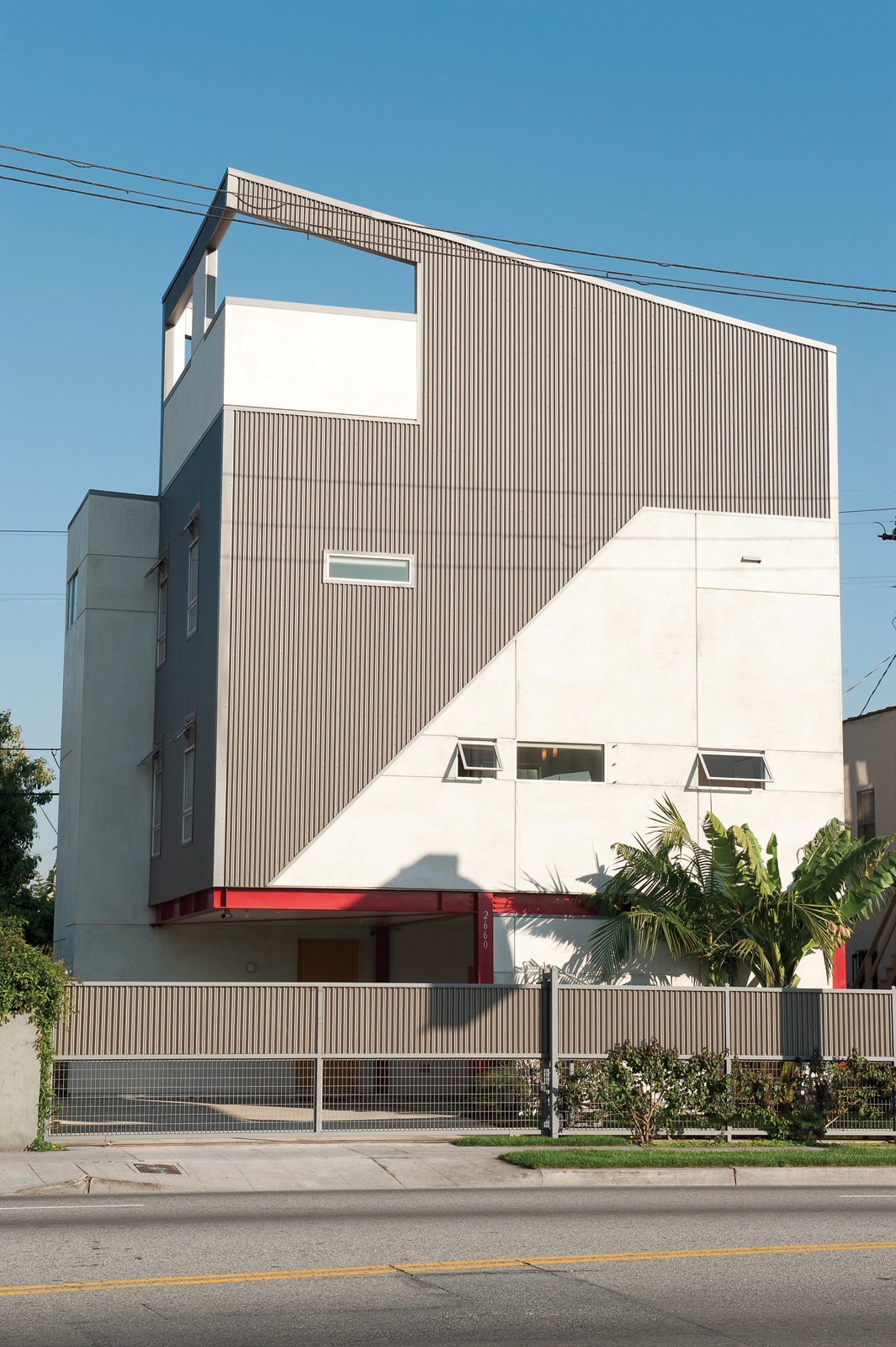 Modern home with corrugated sheet metal facade