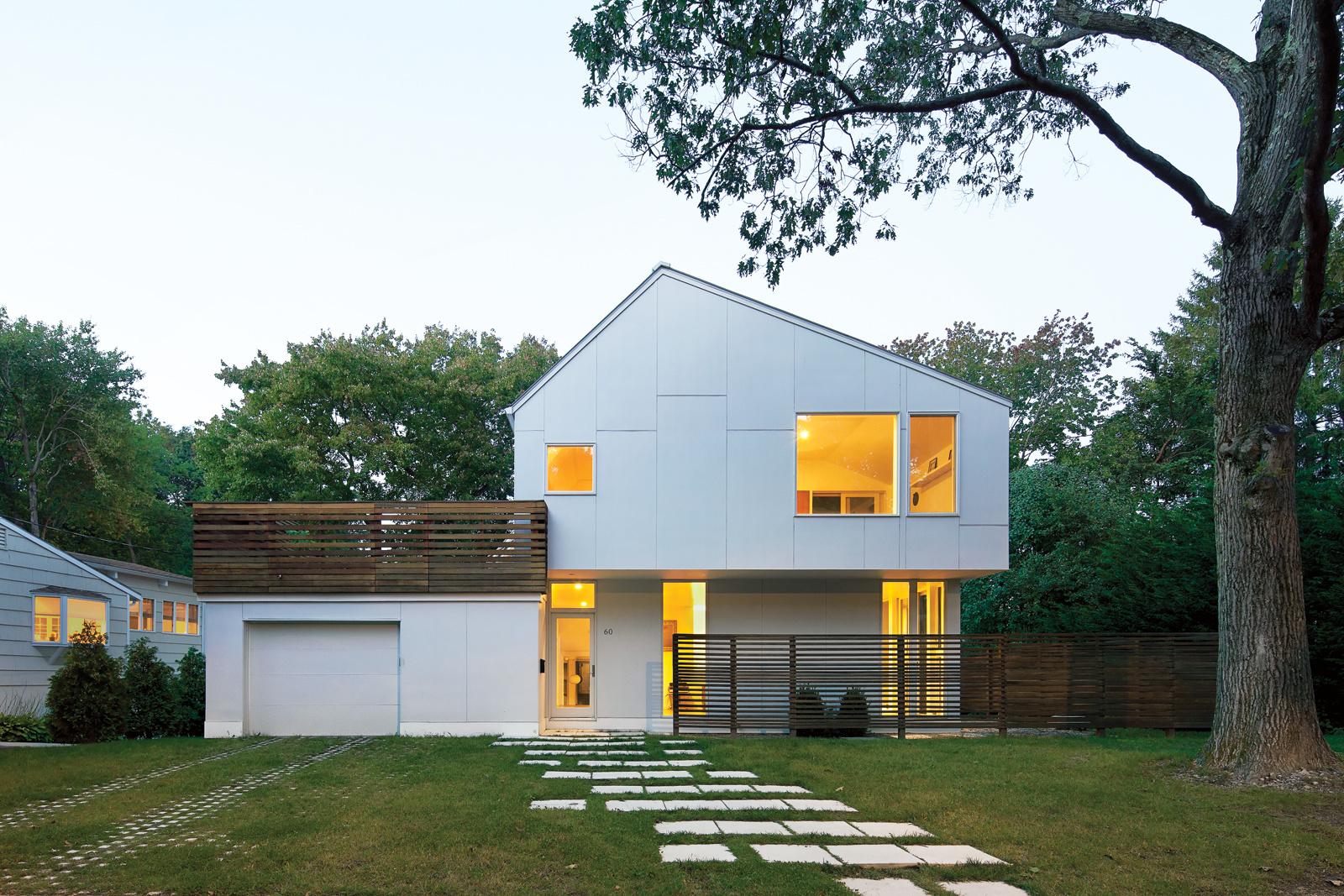 braver house facade roof deck extended cedar screen 0