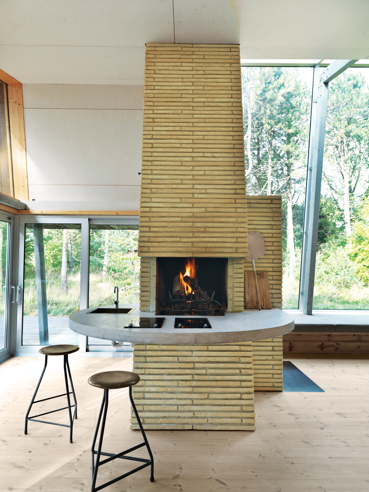 Modern brick fireplace.