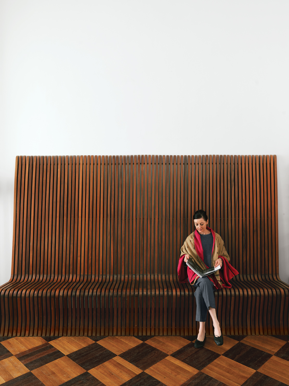 Vintage rosewood bench by Richard Seifert