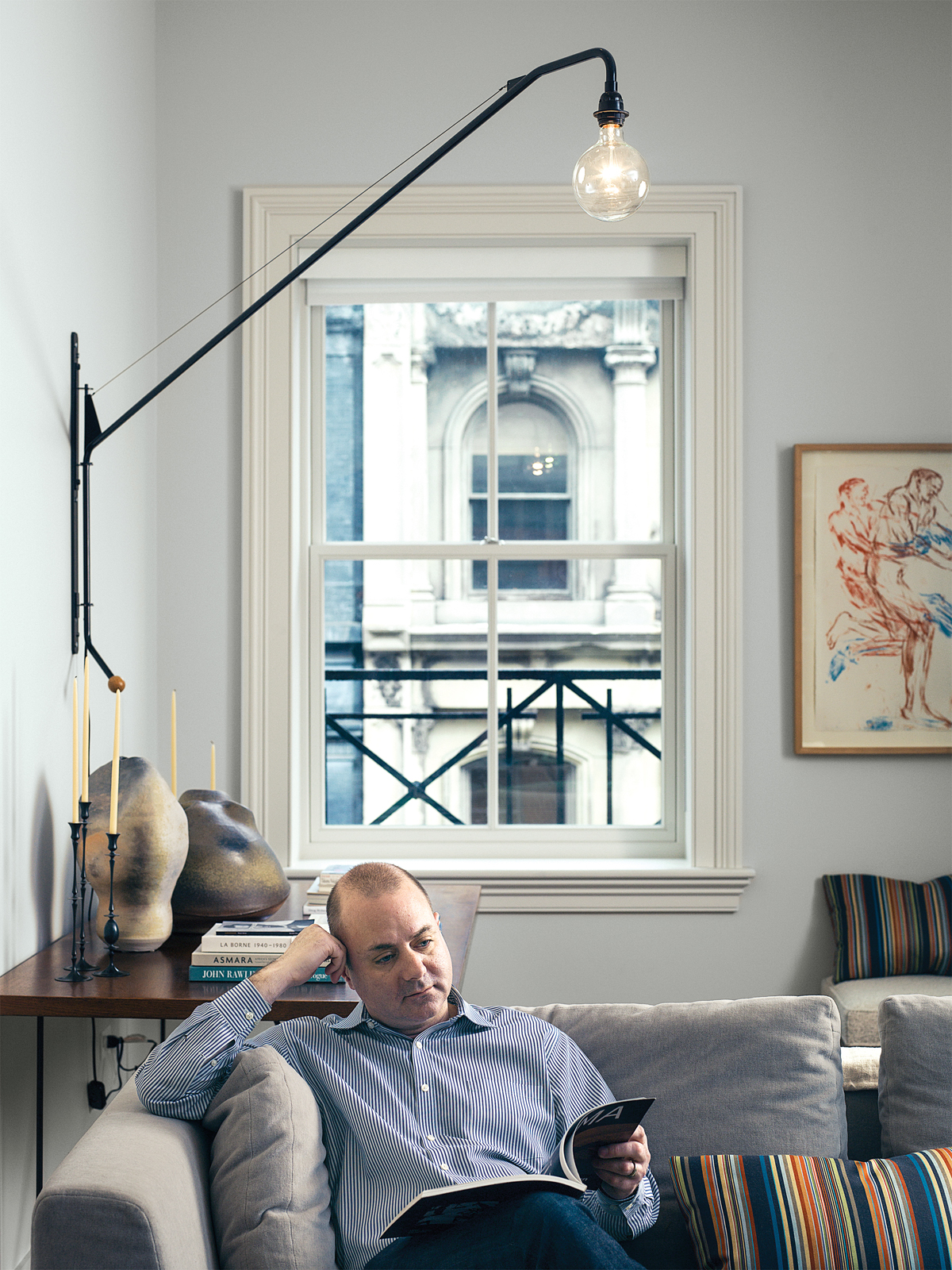 James Marcovitz in living room of Tribeca loft.