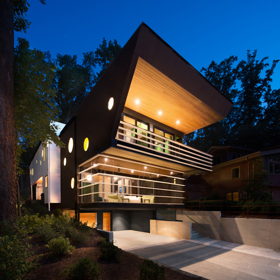 modern house in georgia with screened-in porch