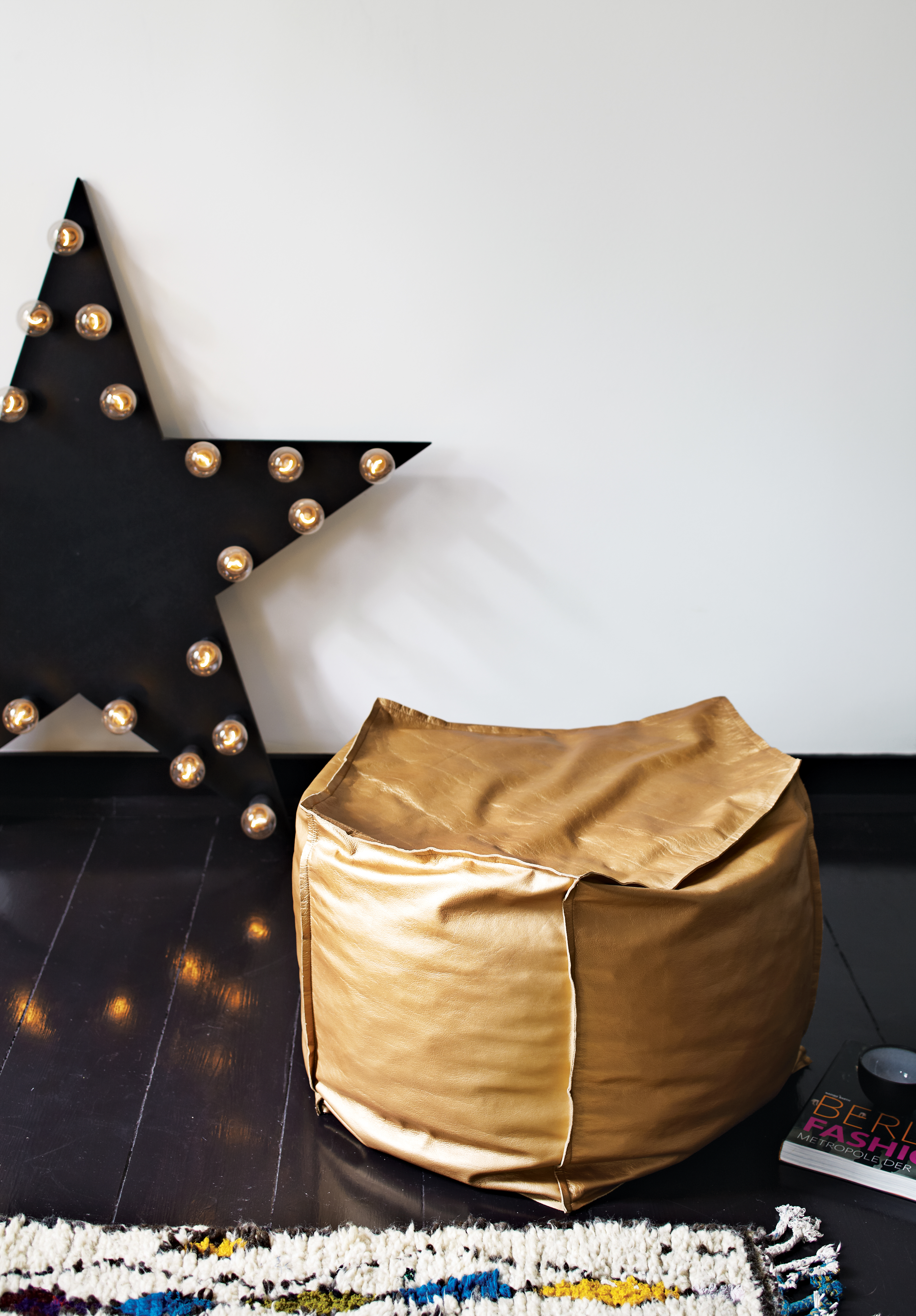 berlin apartment interior leather pouffe